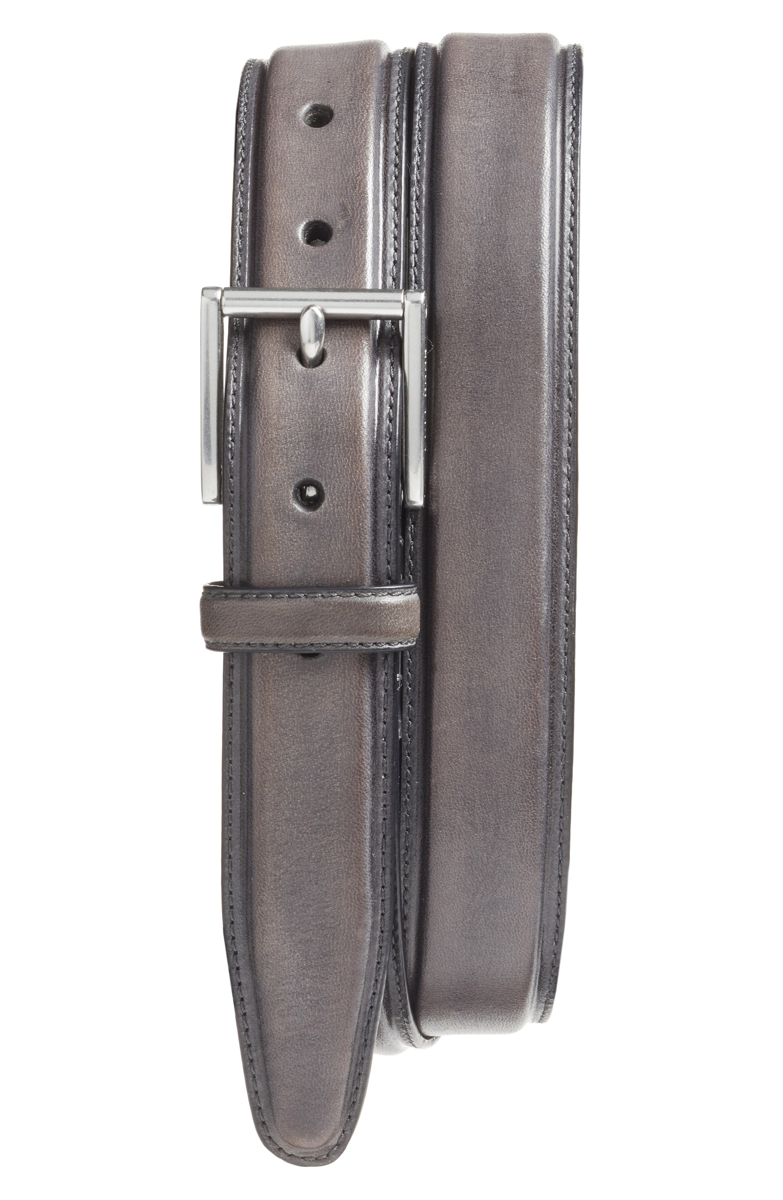 COLE HAAN Pressed Edge Leather Belt, Main, color, 020