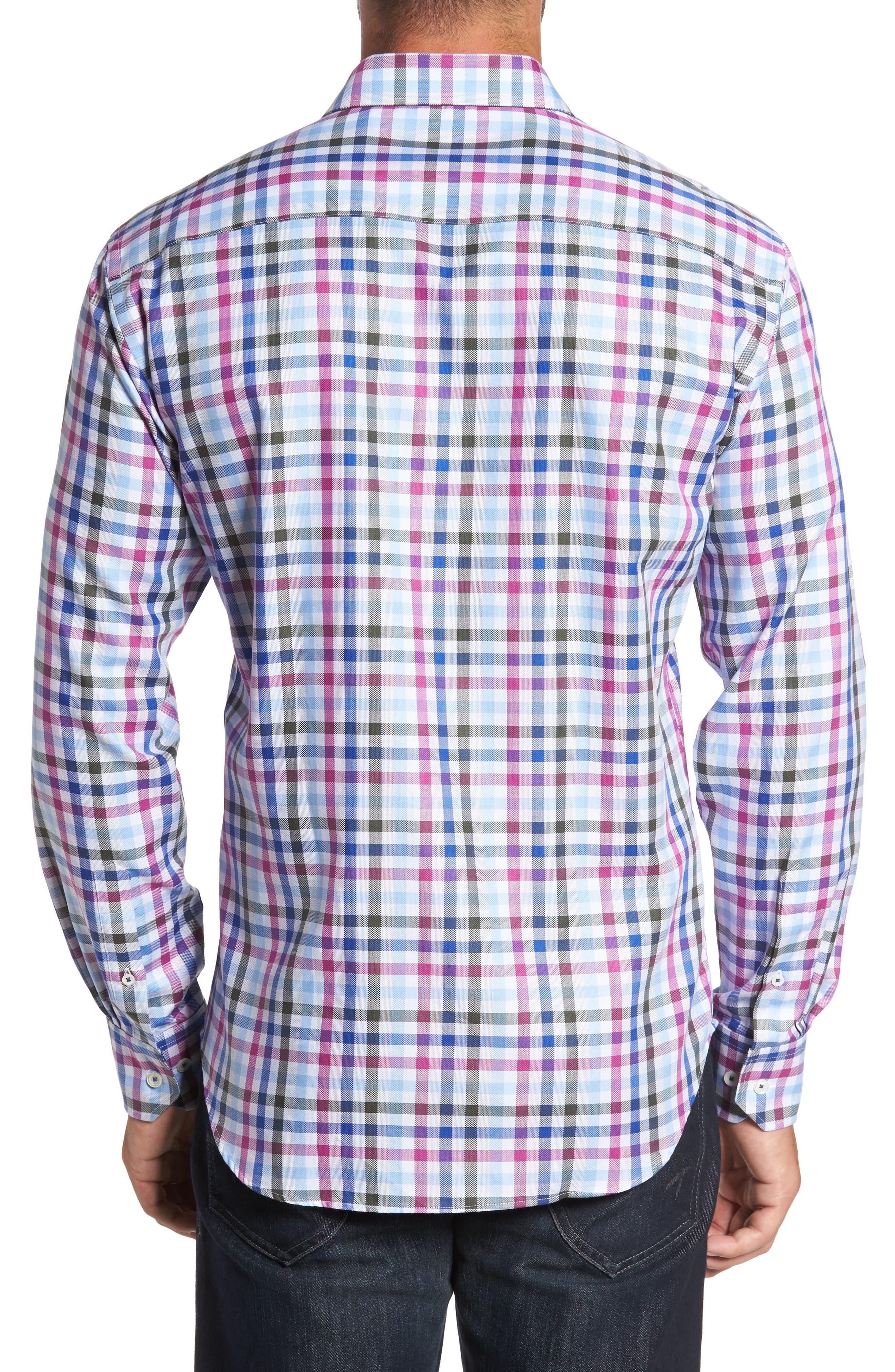 Shaped Fit Plaid Sport Shirt,                             Alternate thumbnail 2, color,                             537