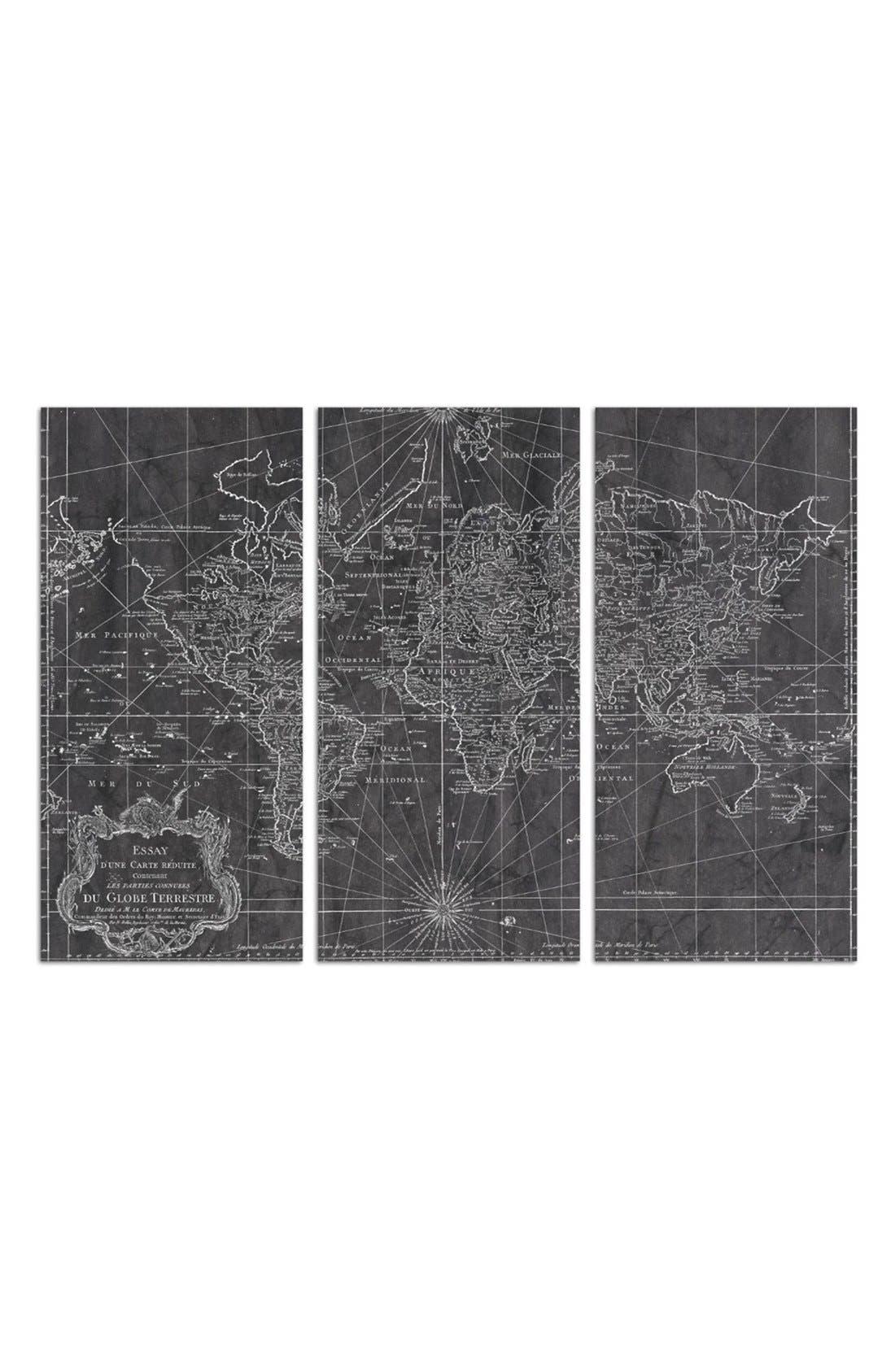 'World Map 1778' Canvas Print Triptych, Main, color, BLACK