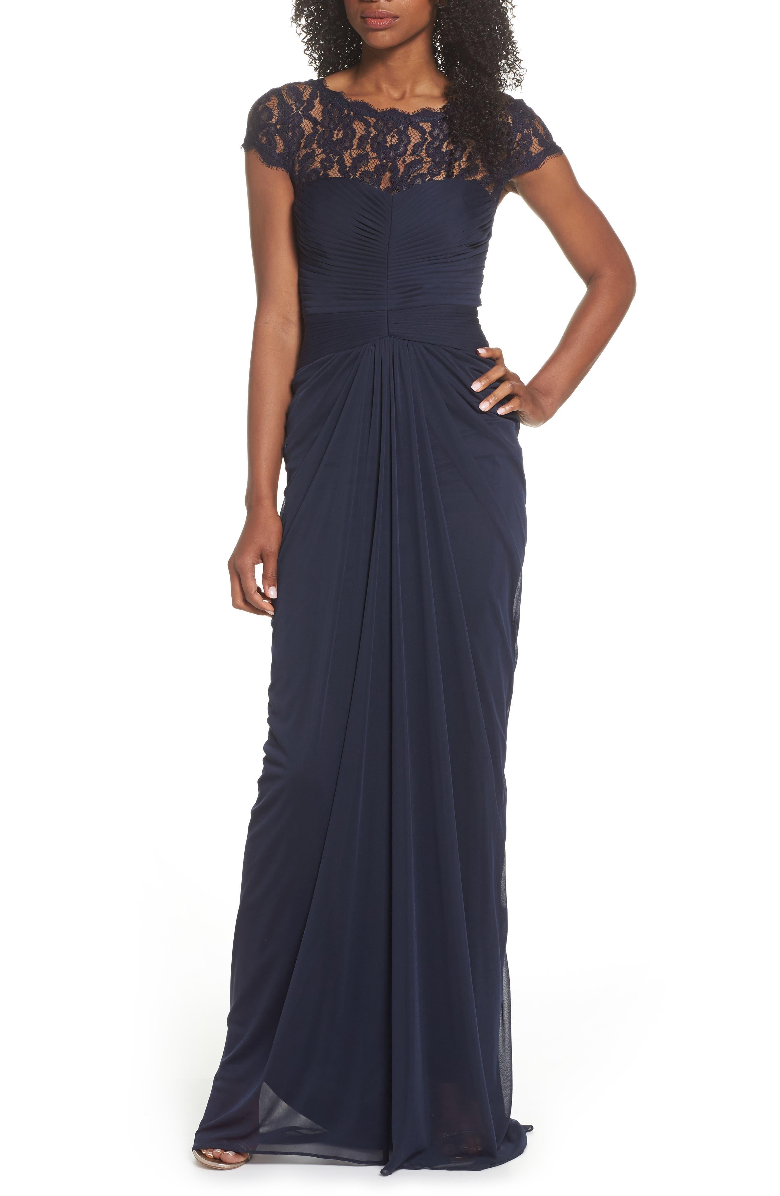 Lace Yoke Drape Gown,                             Alternate thumbnail 3, color,