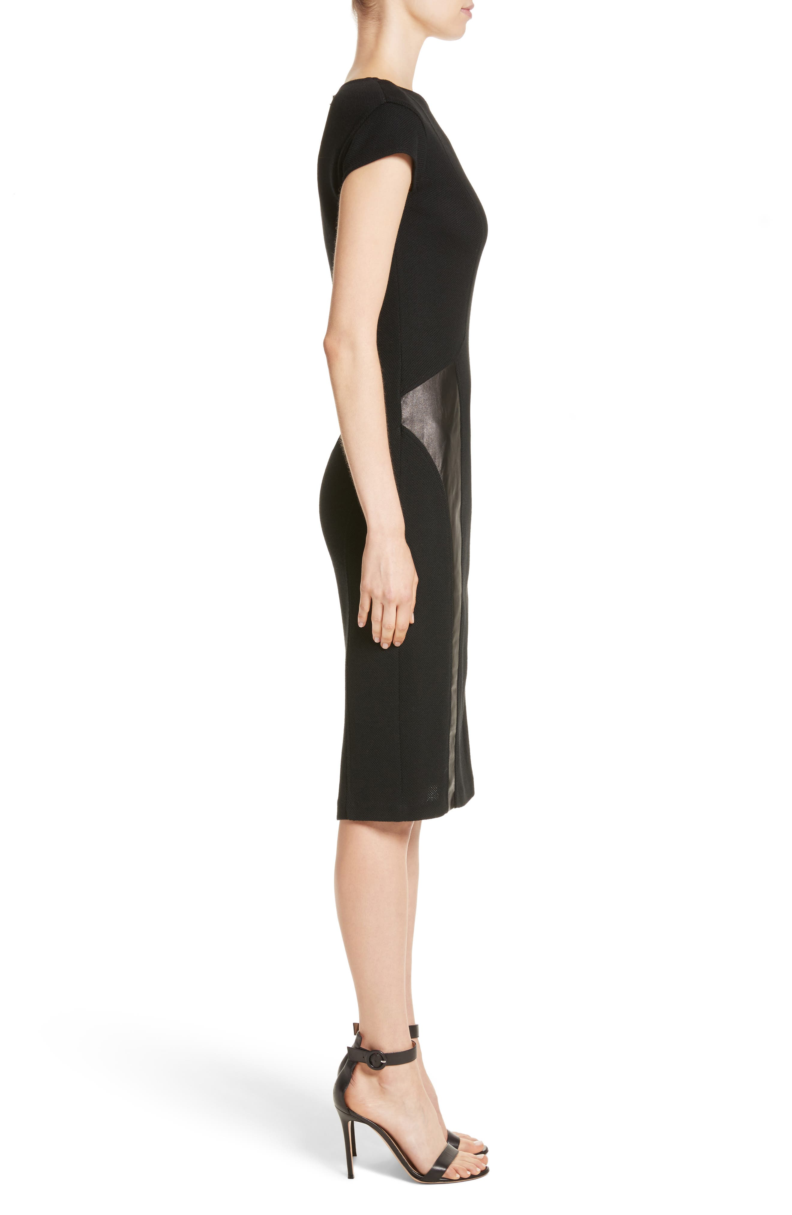 Leather Panel Milano Piqué Knit Dress,                             Alternate thumbnail 3, color,                             001
