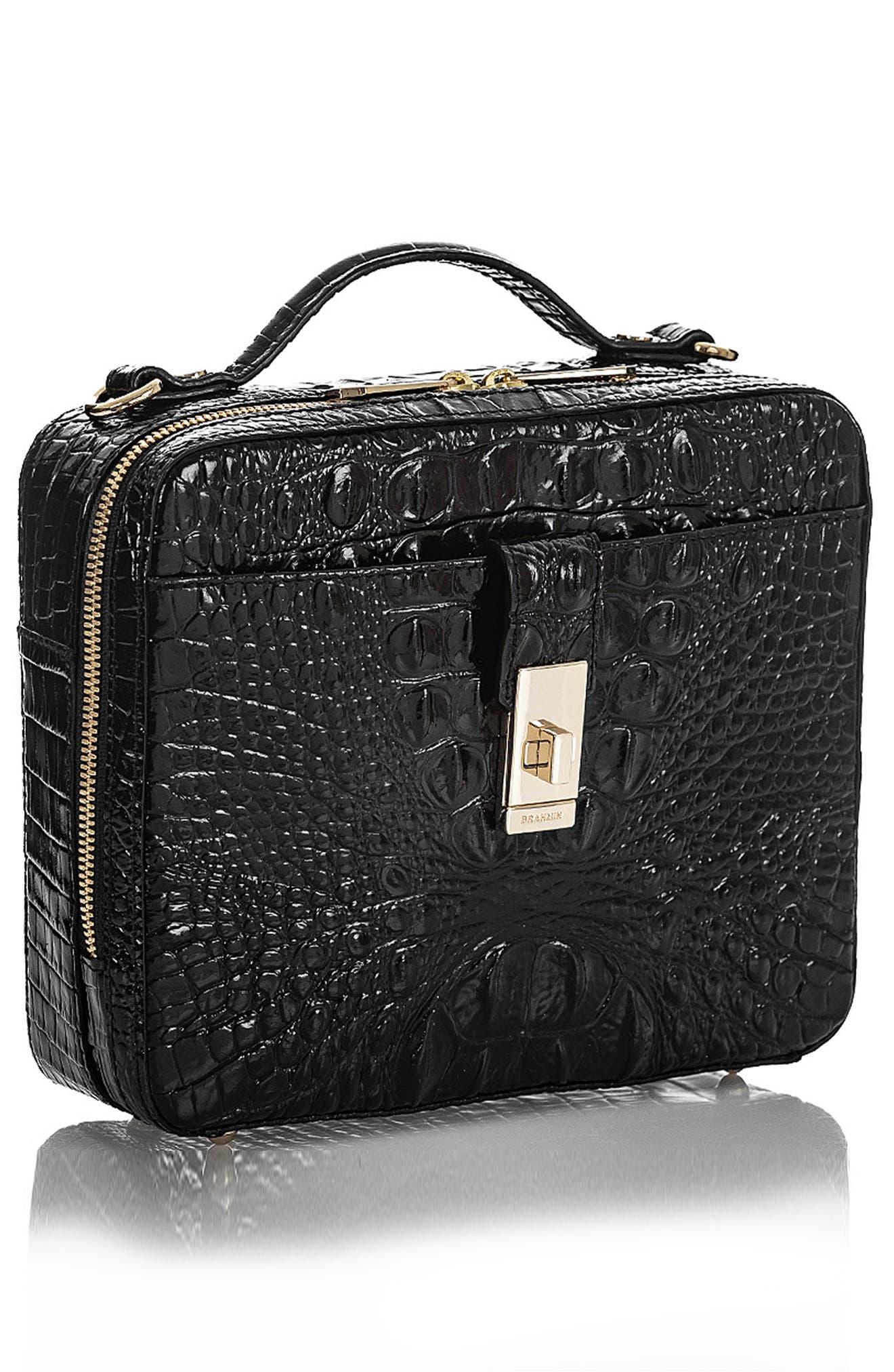 Evie Croc Embossed Leather Top Handle Bag,                             Alternate thumbnail 4, color,                             BLACK MEMBOURNE
