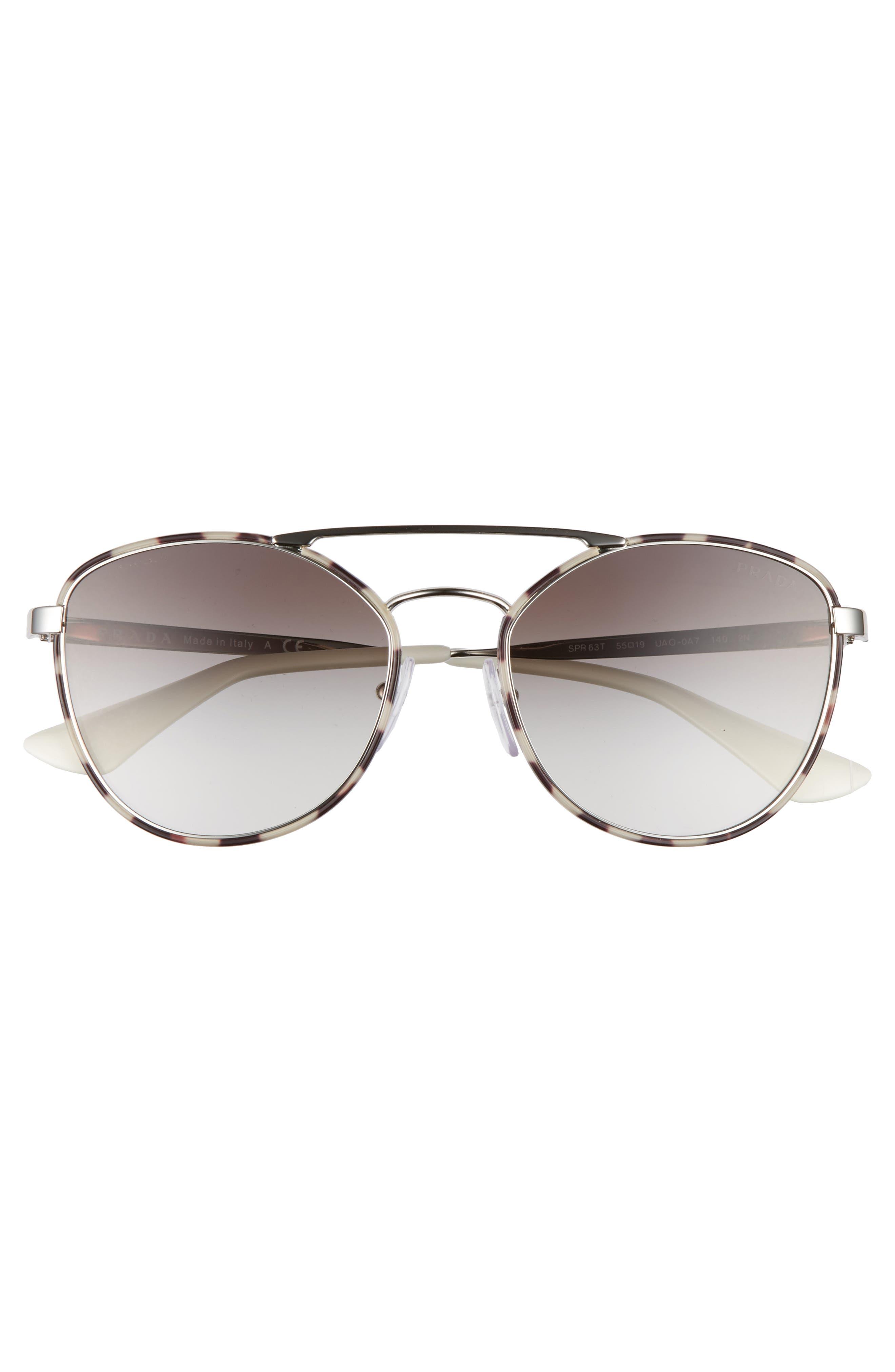 55mm Gradient Aviator Sunglasses,                             Alternate thumbnail 3, color,                             200