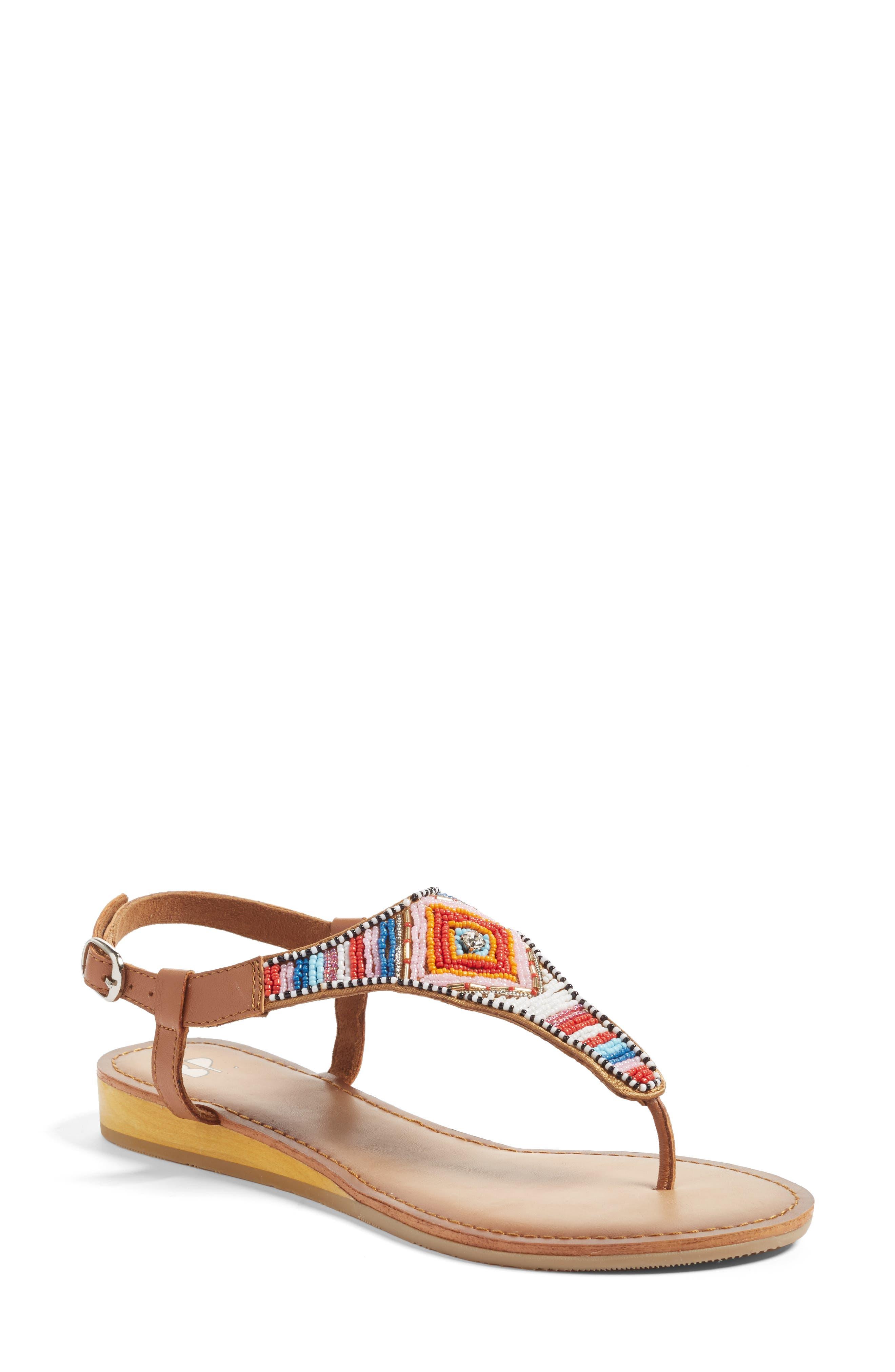 Zandra Beaded V-Strap Sandal,                         Main,                         color, 200