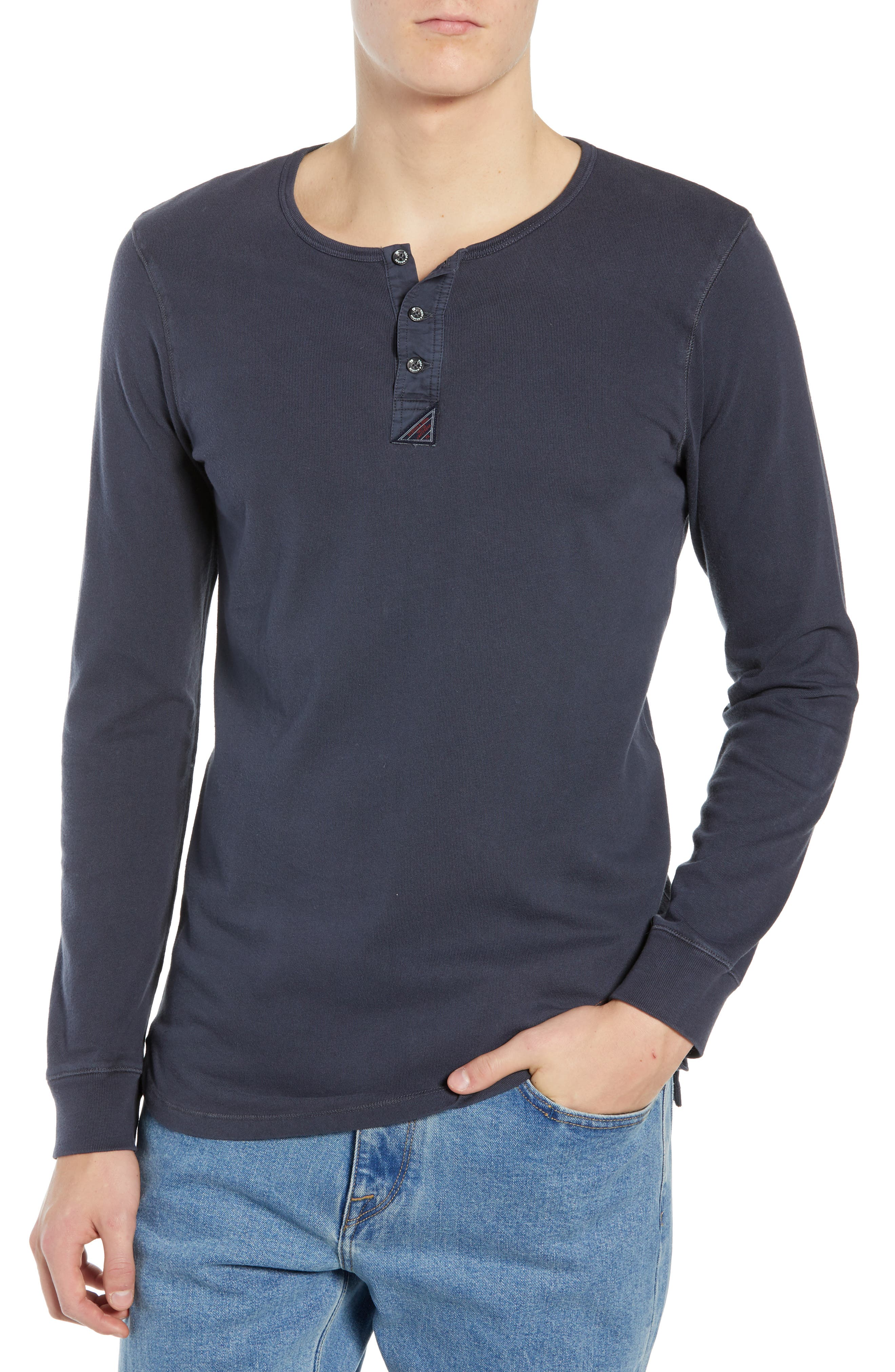 Long Sleeve Henley Shirt,                         Main,                         color, STEEL