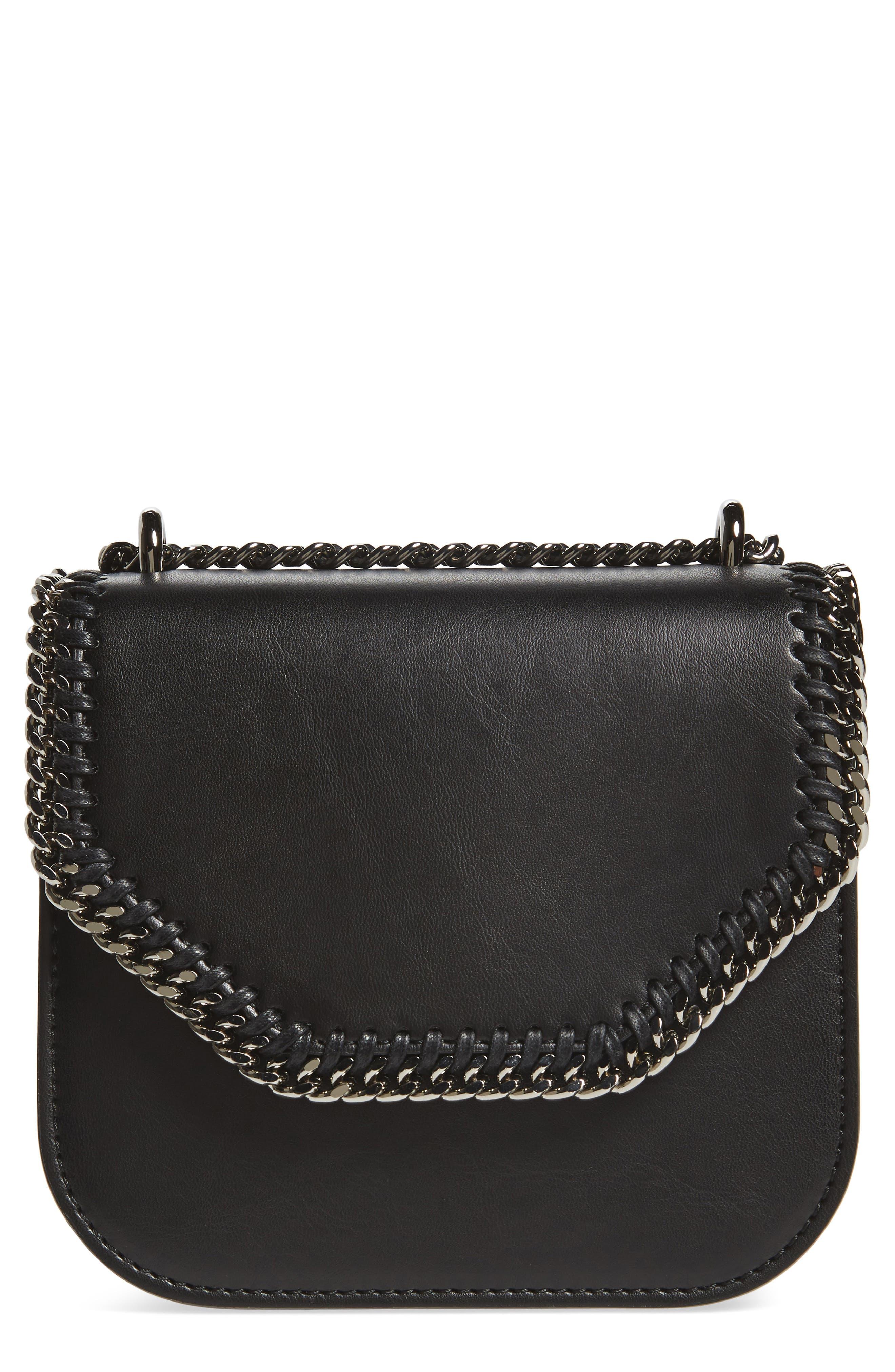 Small Falabella Box Alter Nappa Faux Leather Crossbody Bag,                             Main thumbnail 1, color,                             BLACK