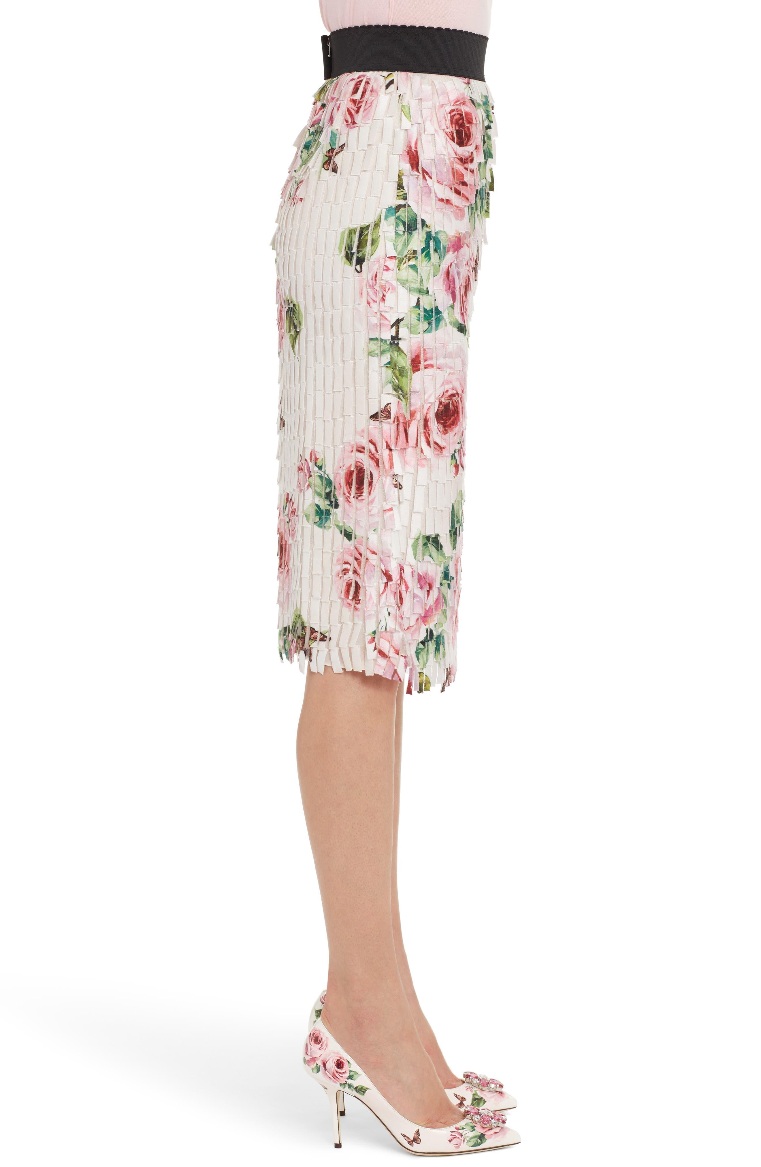 Rose Print Fringe Skirt,                             Alternate thumbnail 3, color,                             680