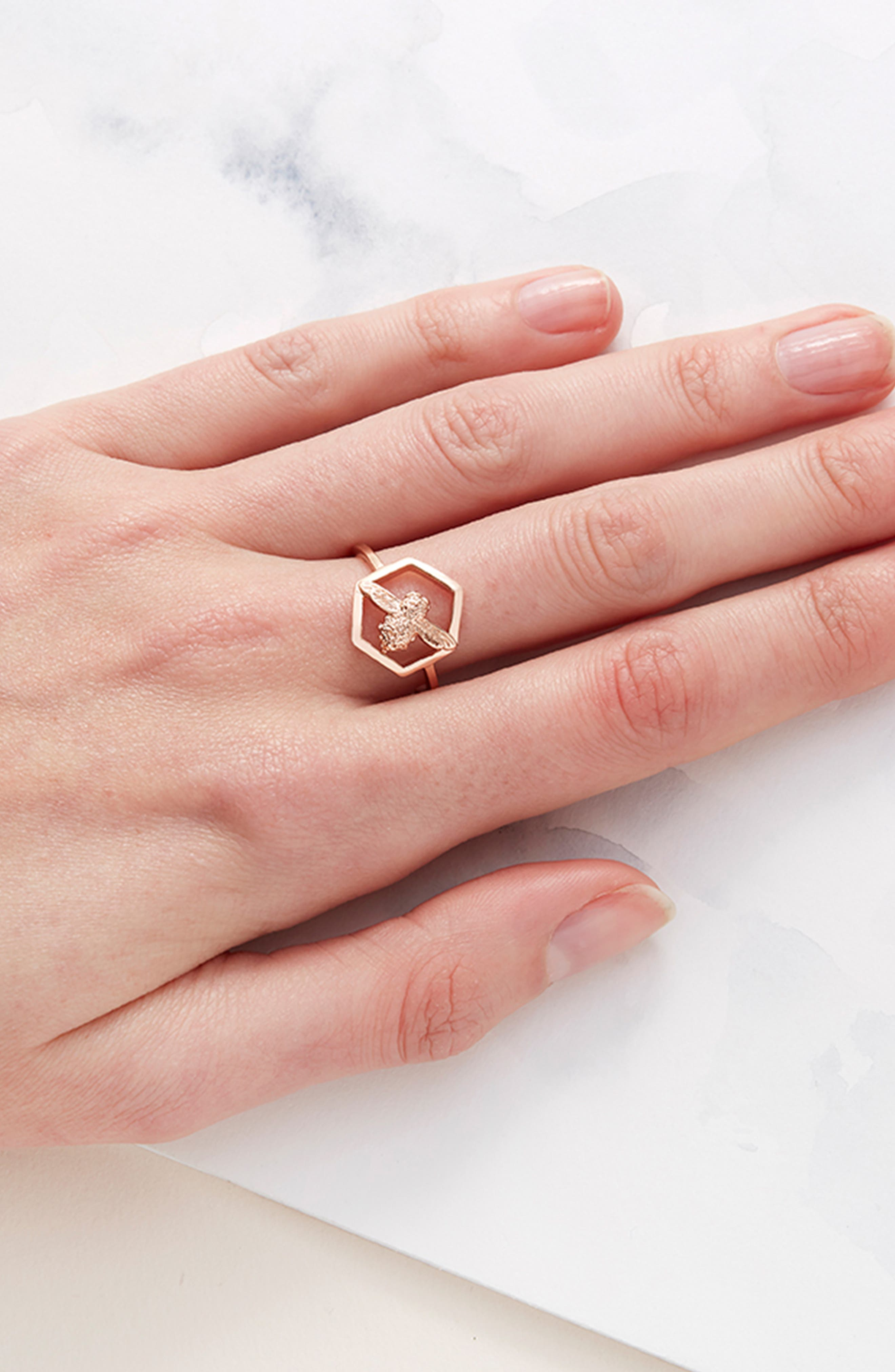 Honeycomb Bee Ring,                             Alternate thumbnail 2, color,                             ROSE GOLD