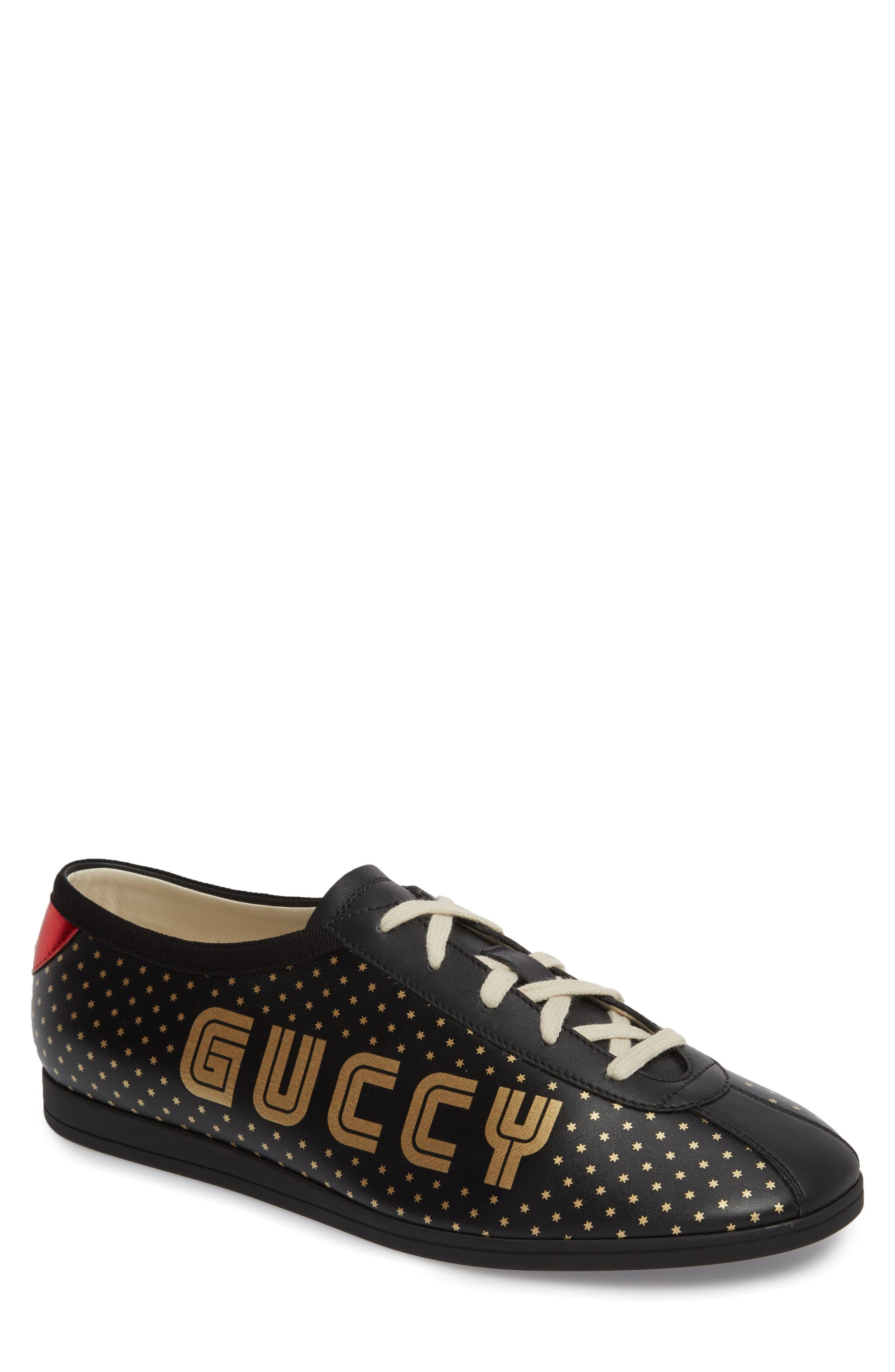 Falacer Guccy Print Sneaker,                             Main thumbnail 1, color,                             BLACK/ TAN