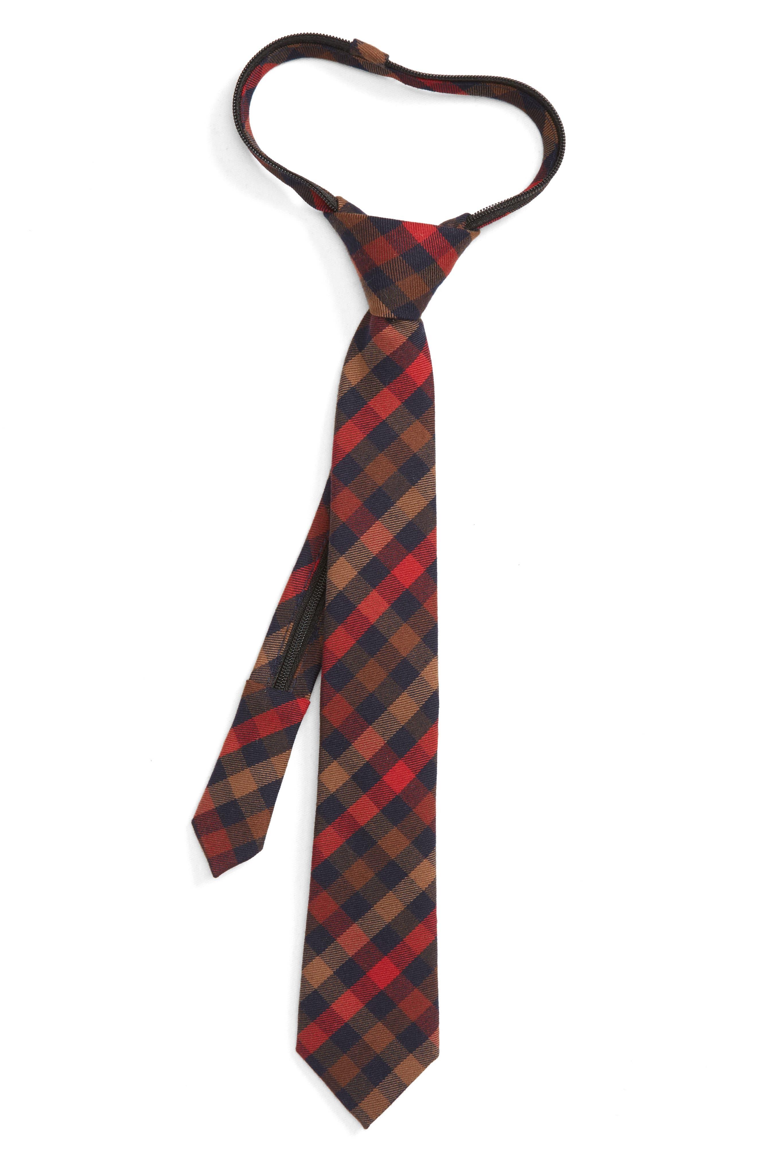 Plaid Zip Tie,                         Main,                         color, ORANGE