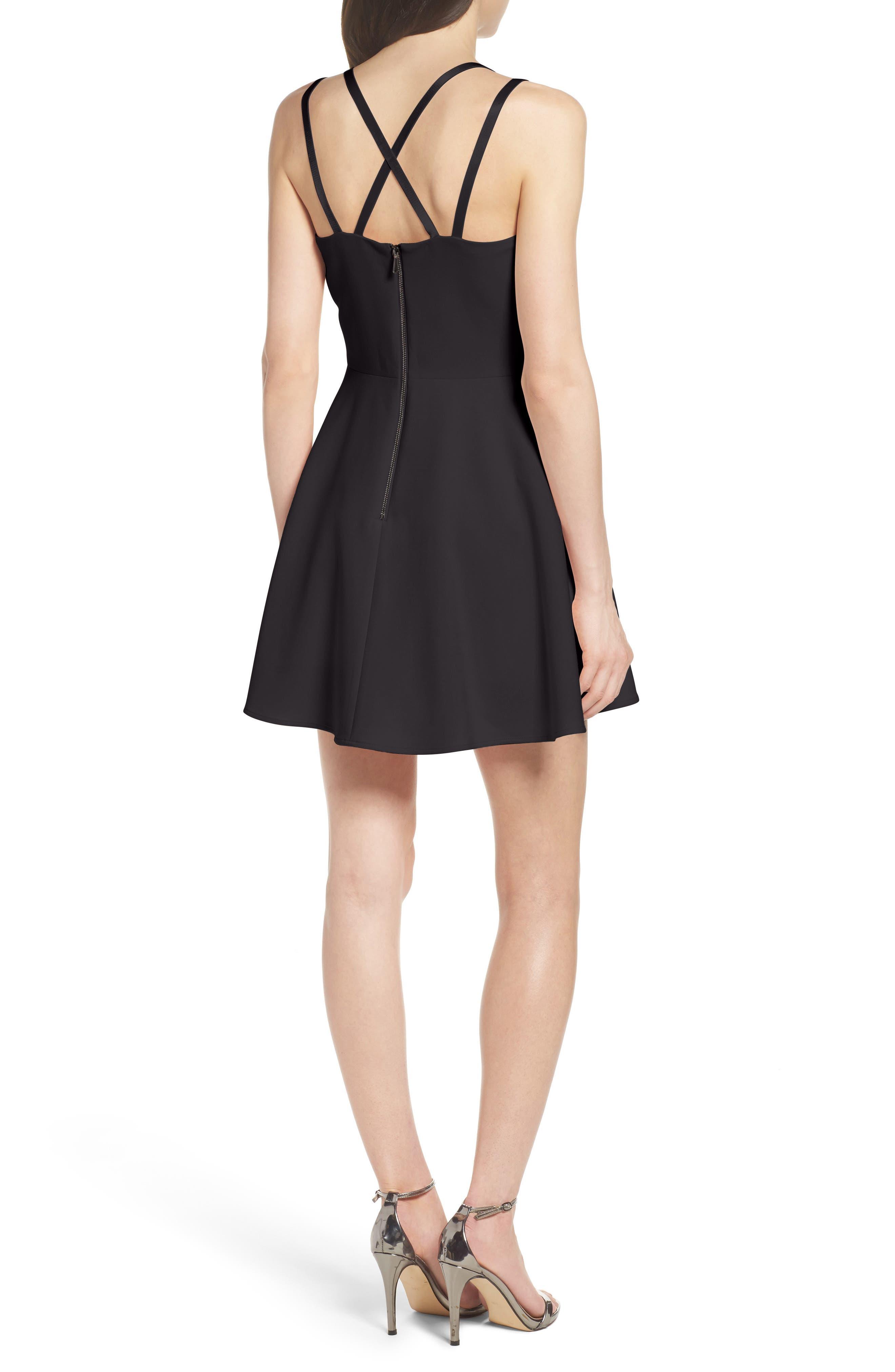 Whisper Light Fit & Flare Dress,                             Alternate thumbnail 2, color,                             BLACK