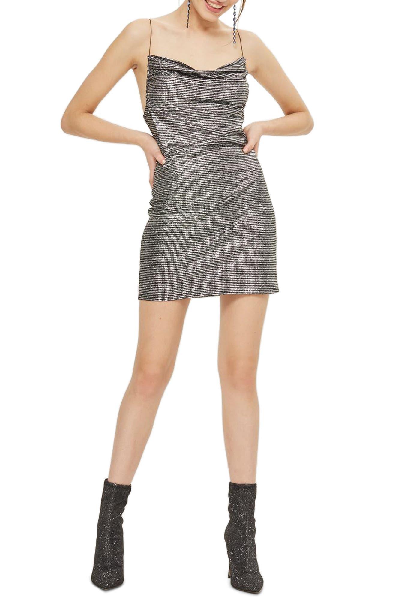 Metallic Cowl Neck Body-Con Dress,                             Main thumbnail 1, color,                             040