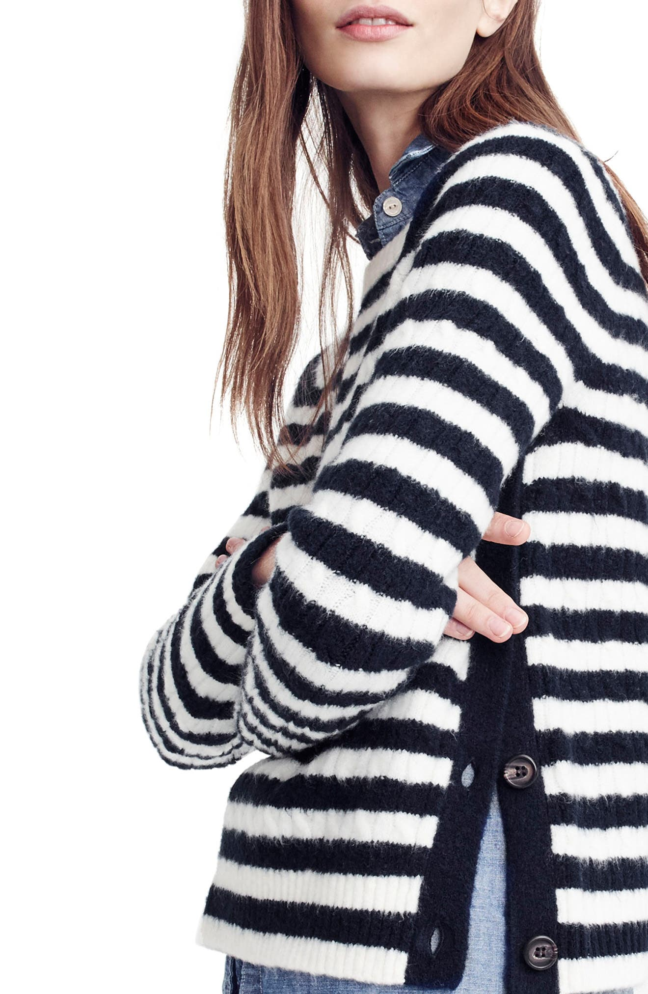 Stripe Cable Knit Sweater with Buttons,                             Alternate thumbnail 2, color,