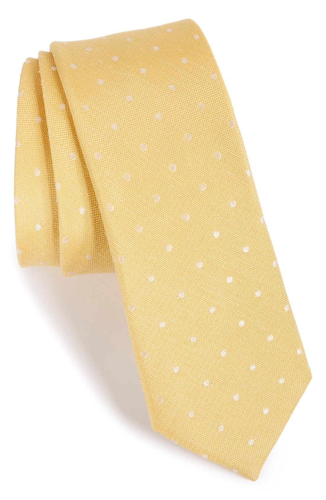 Dot Silk & Linen Tie,                             Main thumbnail 4, color,