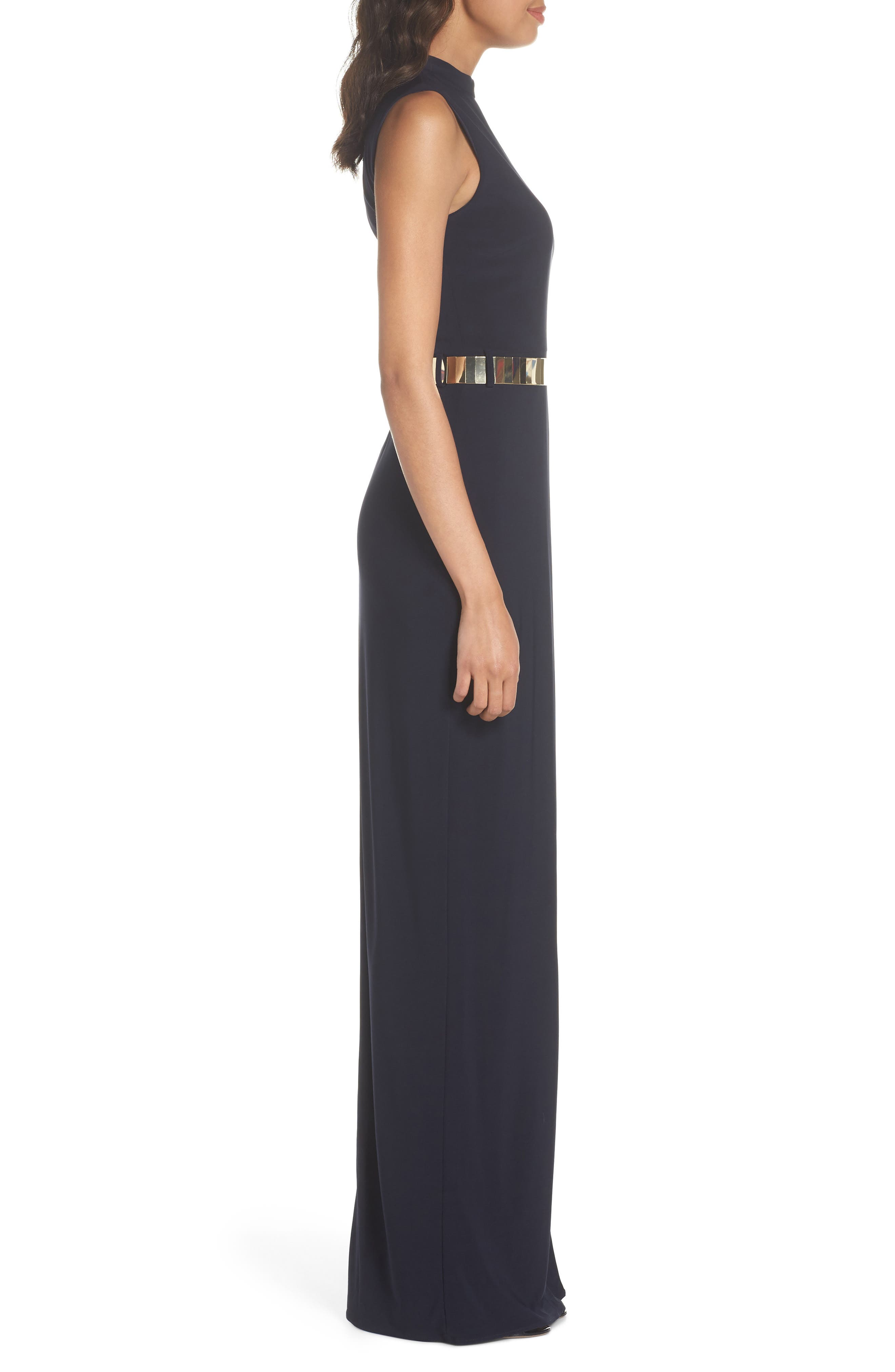 Belted Mock Neck Sheath Gown,                             Alternate thumbnail 3, color,                             MIDNIGHT