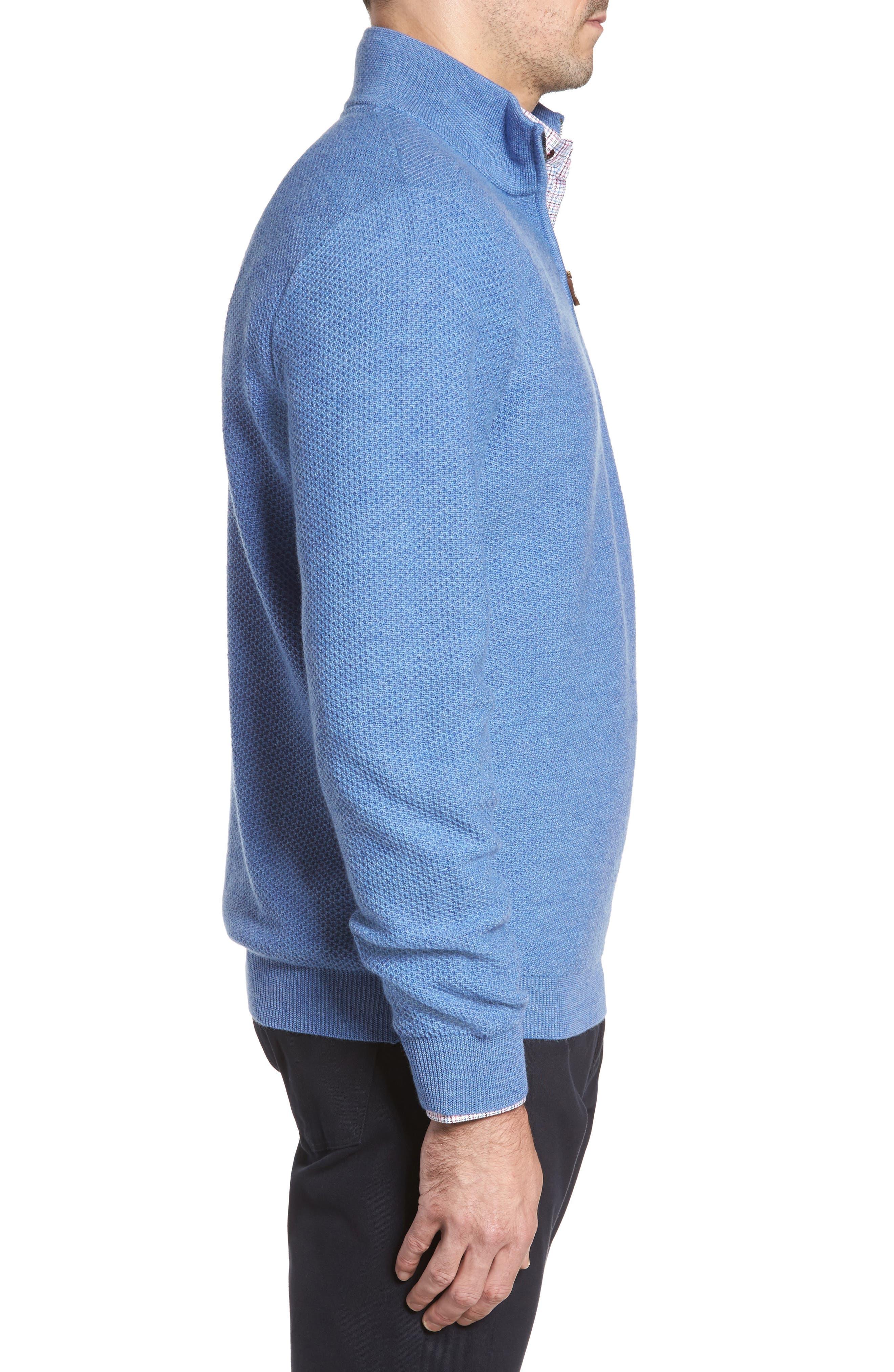 Honeycomb Merino Wool Quarter Zip Pullover,                             Alternate thumbnail 8, color,