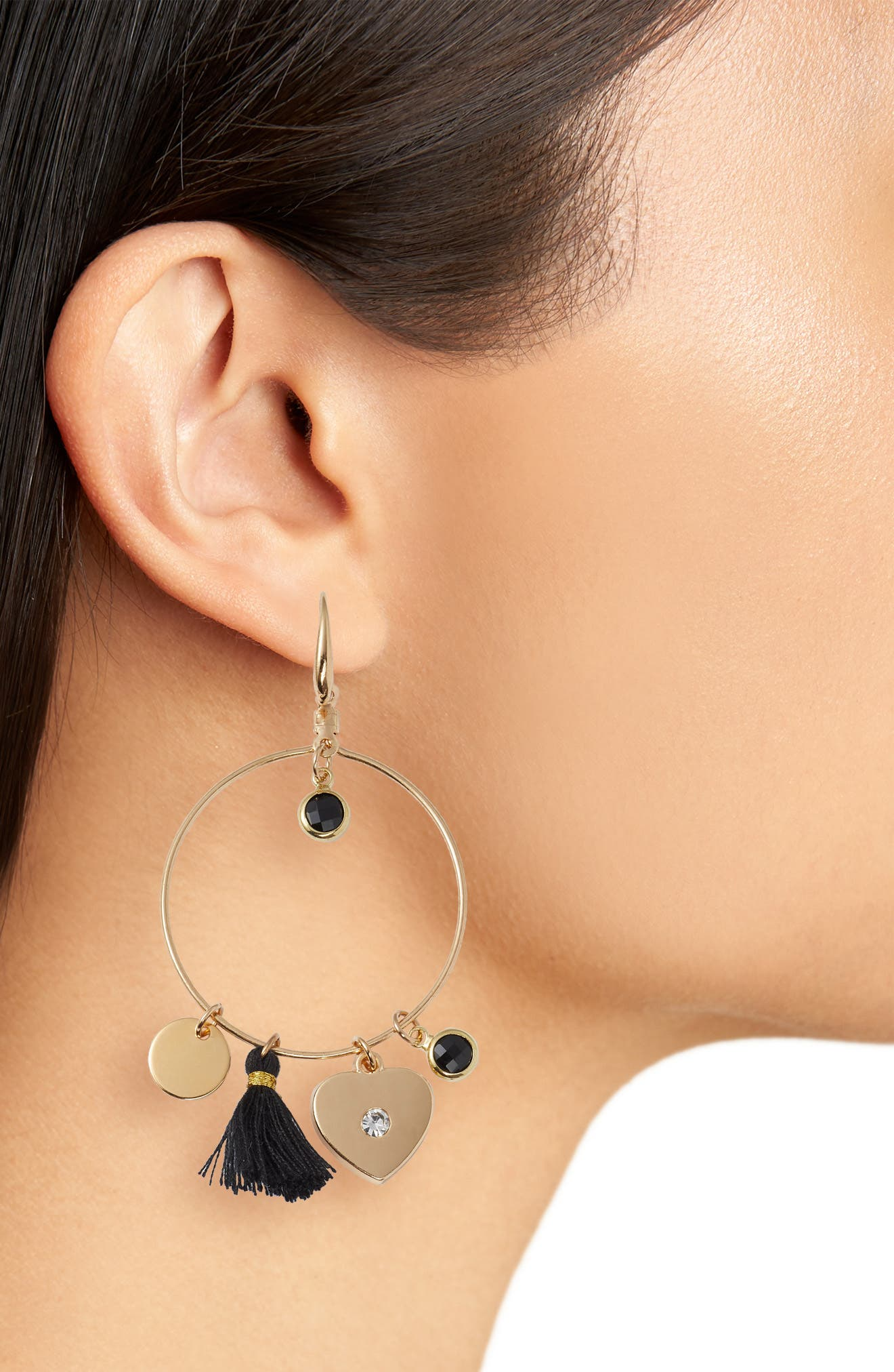 Samantha Tassel & Charm Hoop Earrings,                             Alternate thumbnail 2, color,