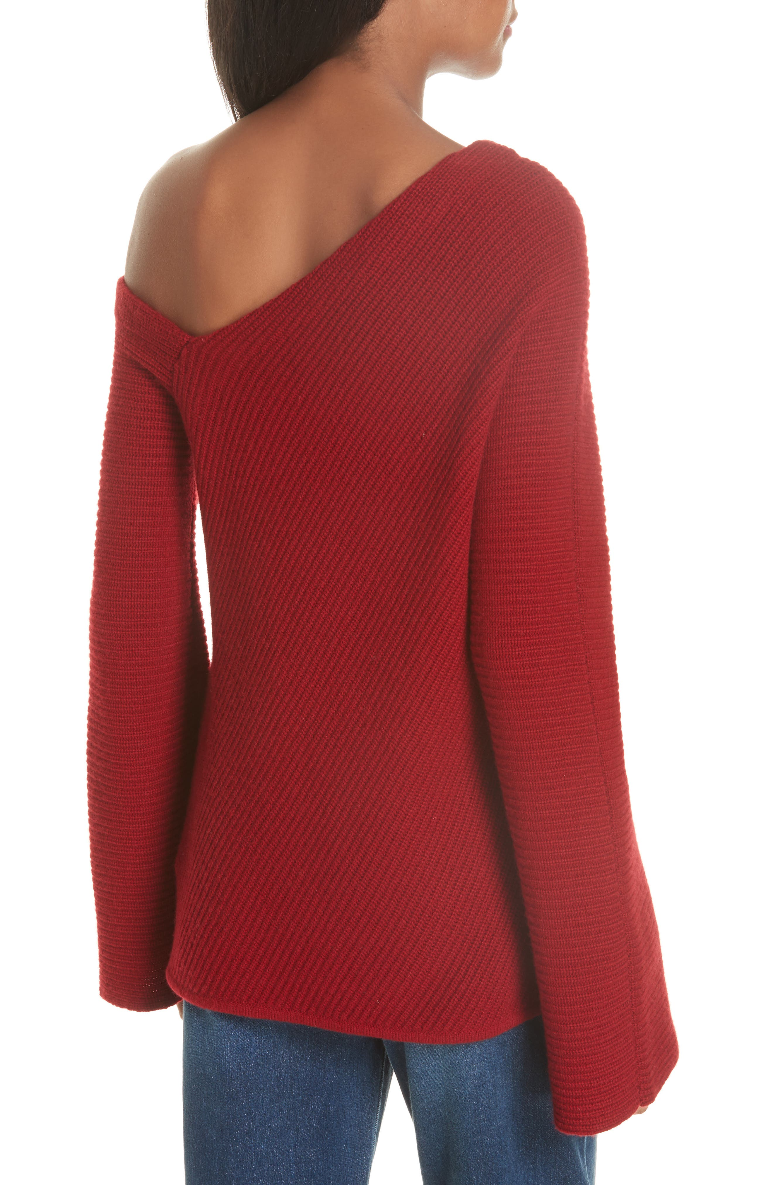 Charly Wool & Cashmere One-Shoulder Sweater,                             Alternate thumbnail 2, color,                             RED
