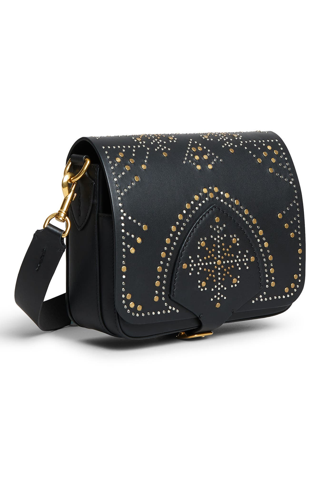 Leather Shoulder Bag,                             Alternate thumbnail 9, color,                             BLACK