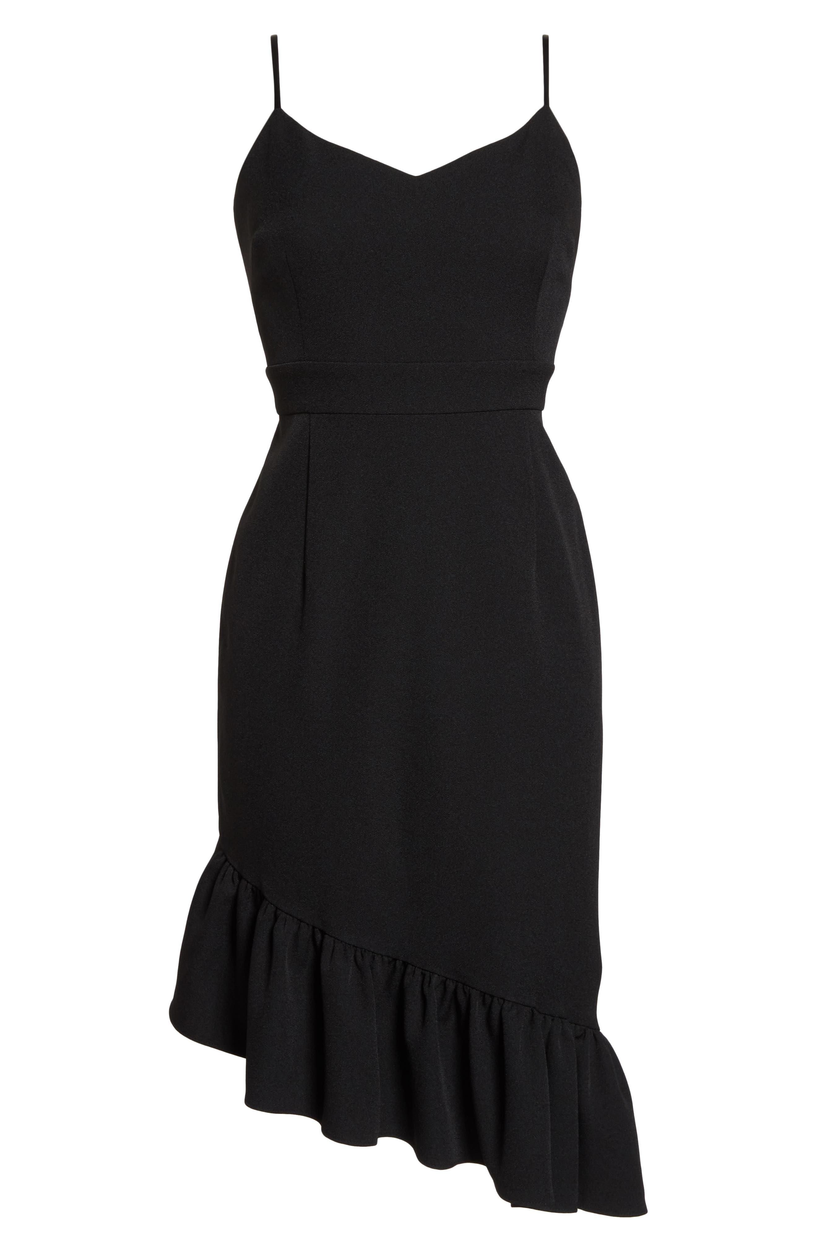 Asymmetric Ruffle Hem Dress,                             Alternate thumbnail 8, color,                             001