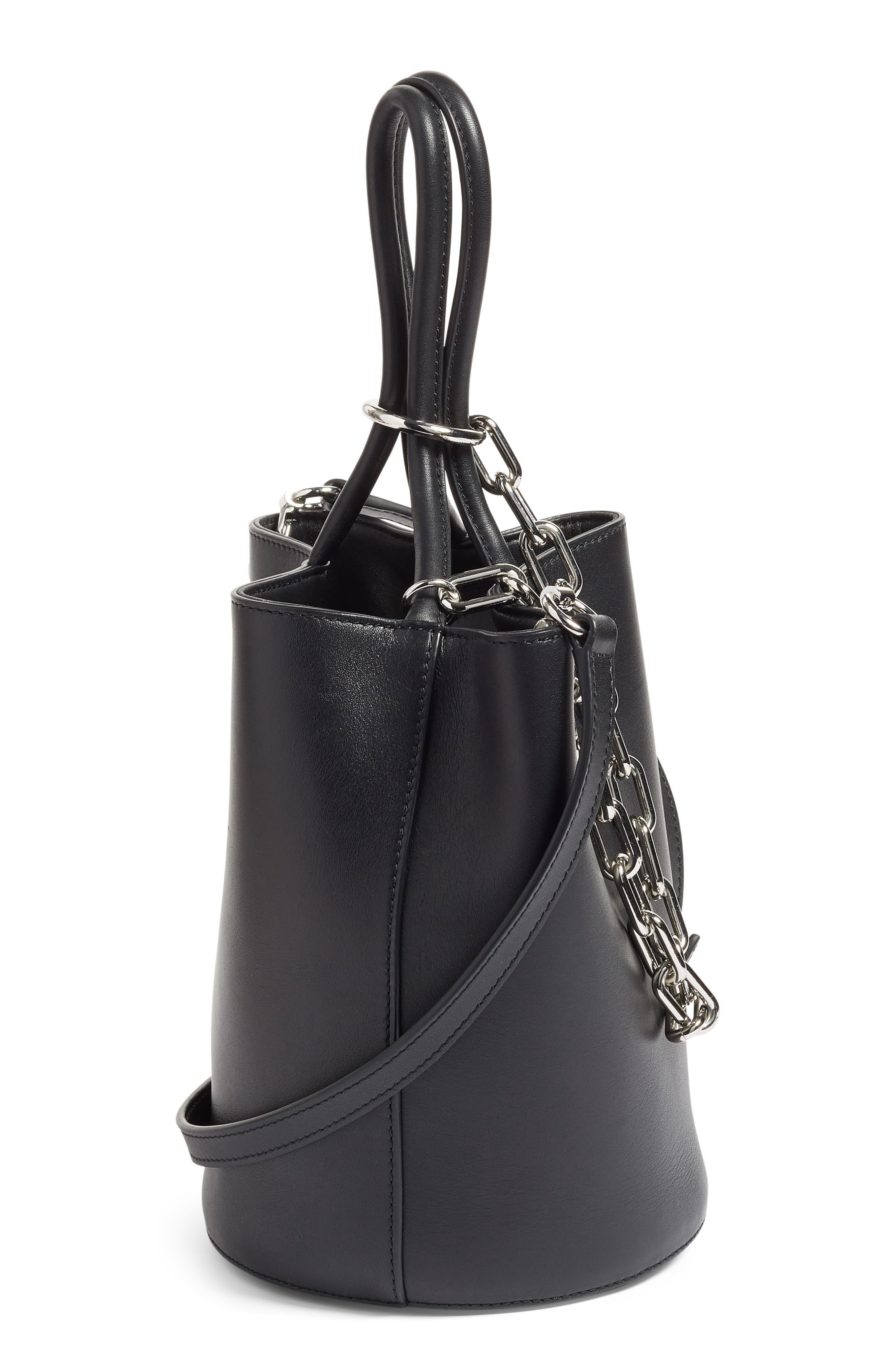 Roxy Leather Bucket Bag,                             Alternate thumbnail 5, color,