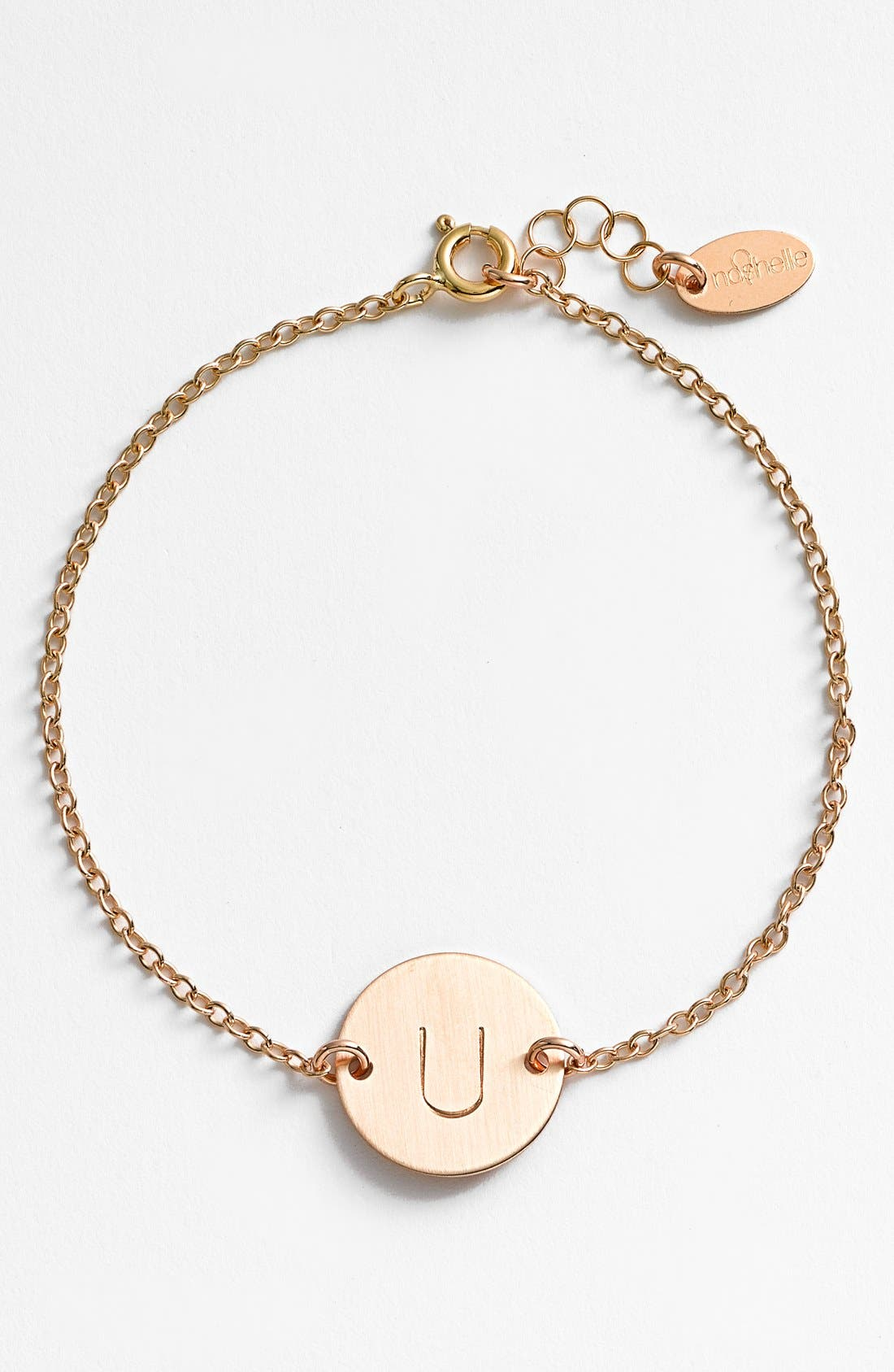 14k-Gold Fill Initial Disc Bracelet,                         Main,                         color, 14K GOLD FILL U