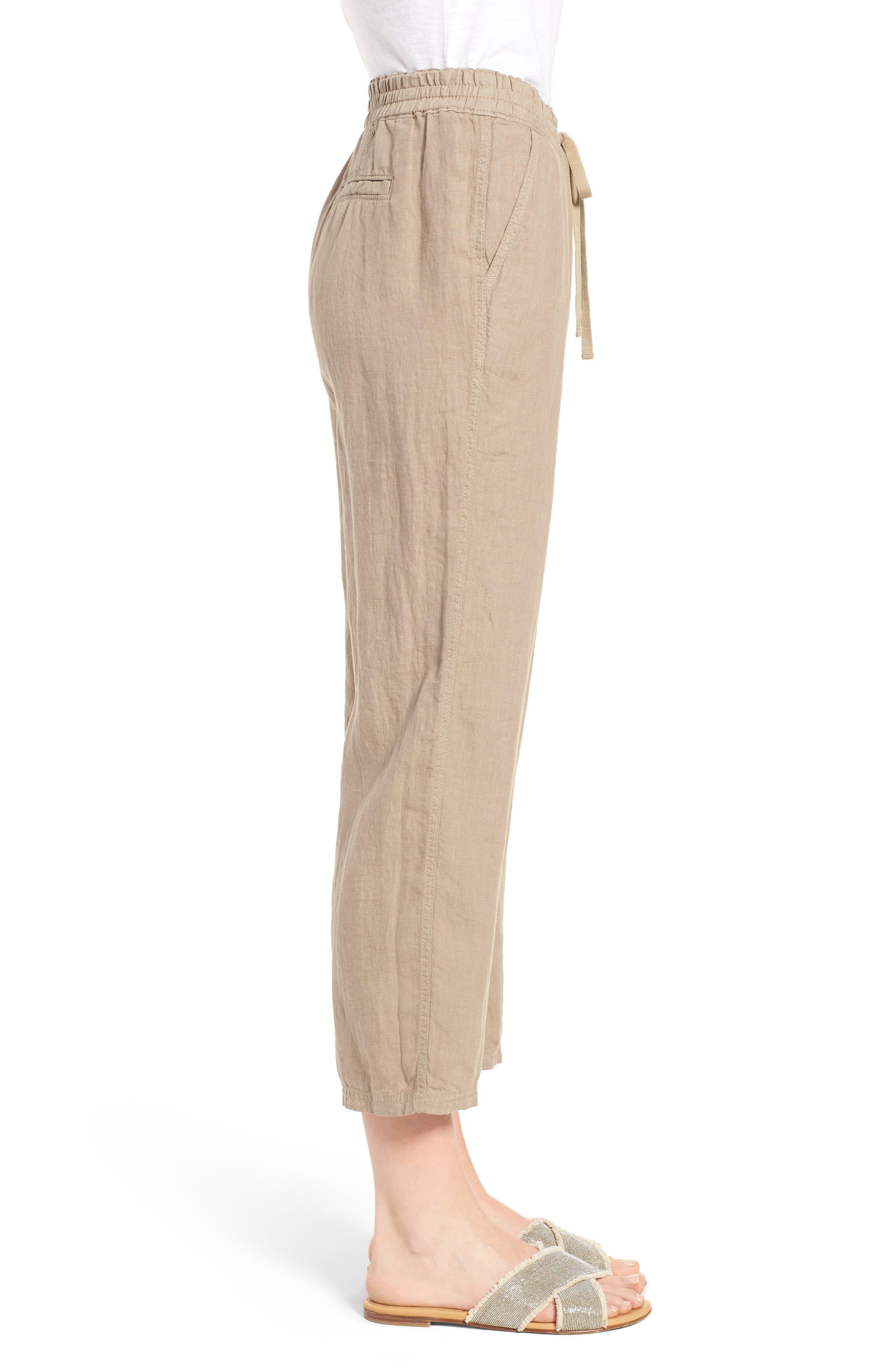 Linen Crop Pants,                             Alternate thumbnail 18, color,