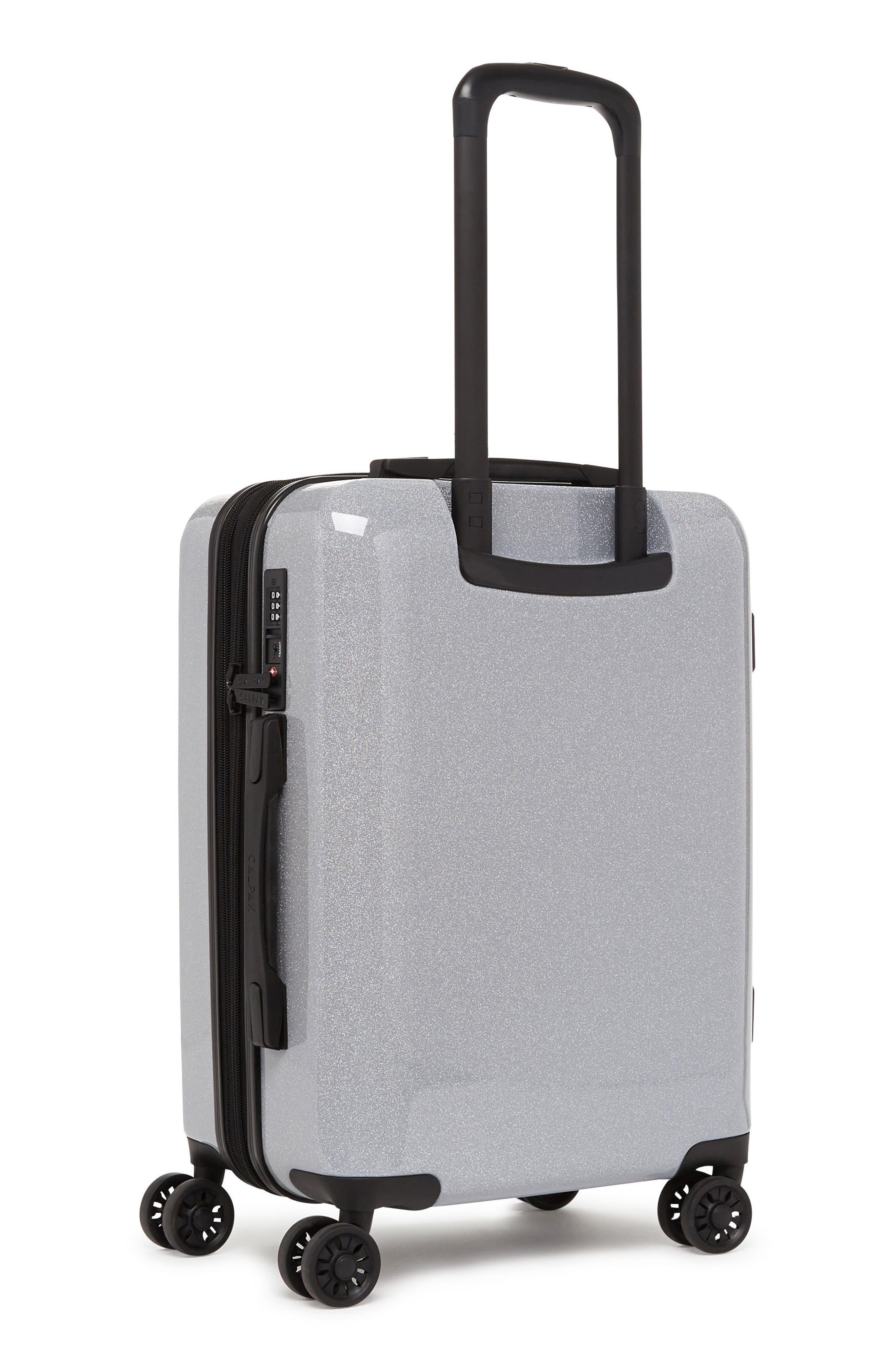 Medora Glitter 20-Inch Hardshell Spinner Carry-On Suitcase,                             Alternate thumbnail 3, color,                             SILVER STARDUST
