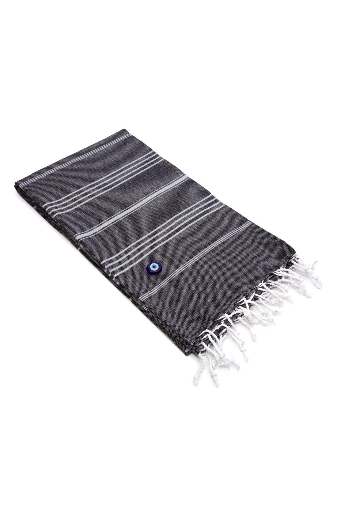 'Lucky' Turkish Pestemal Towel,                             Alternate thumbnail 3, color,                             BLACK