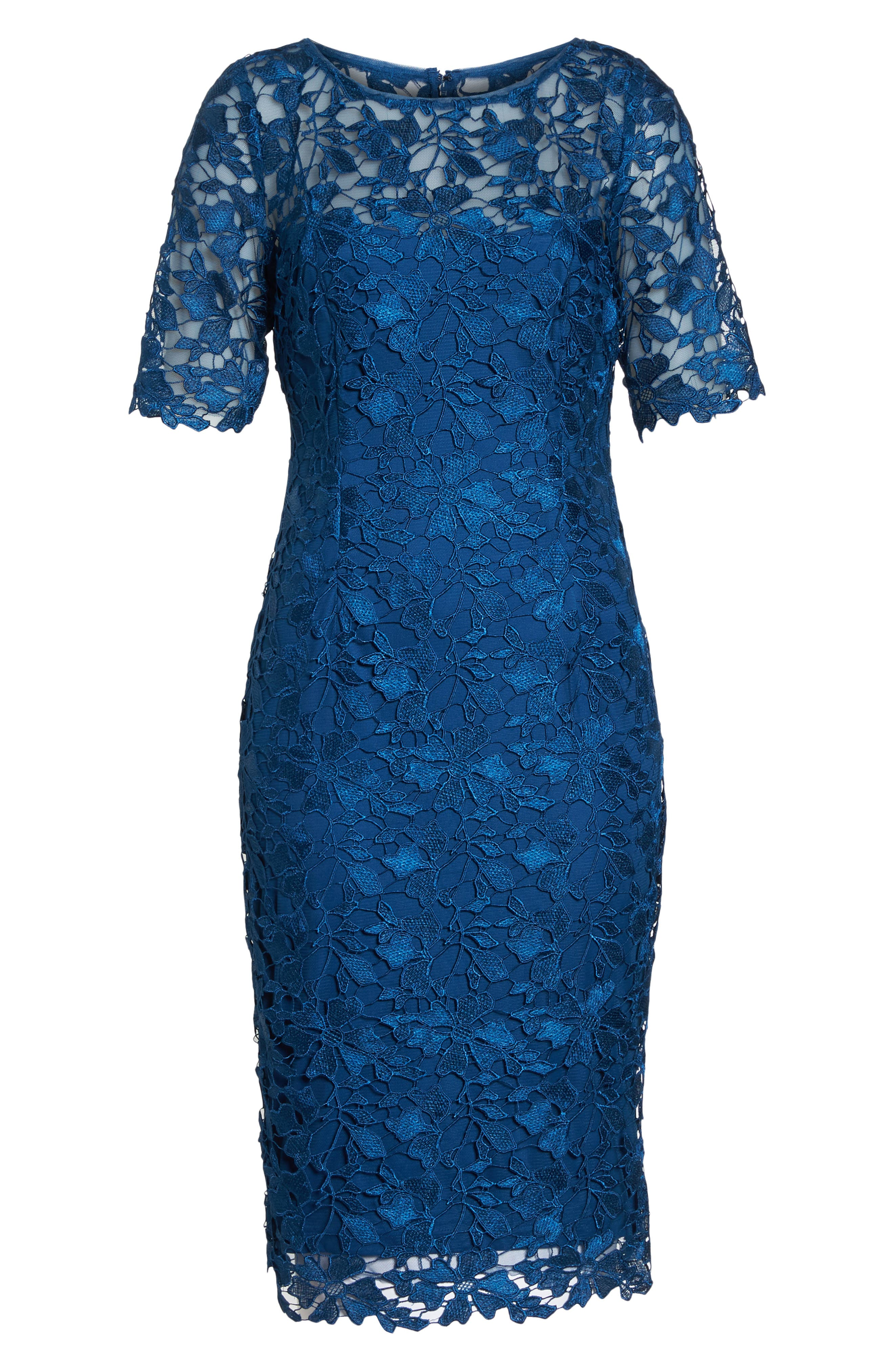 ADRIANNA PAPELL,                             Guipure Lace Sheath Dress,                             Alternate thumbnail 7, color,                             413