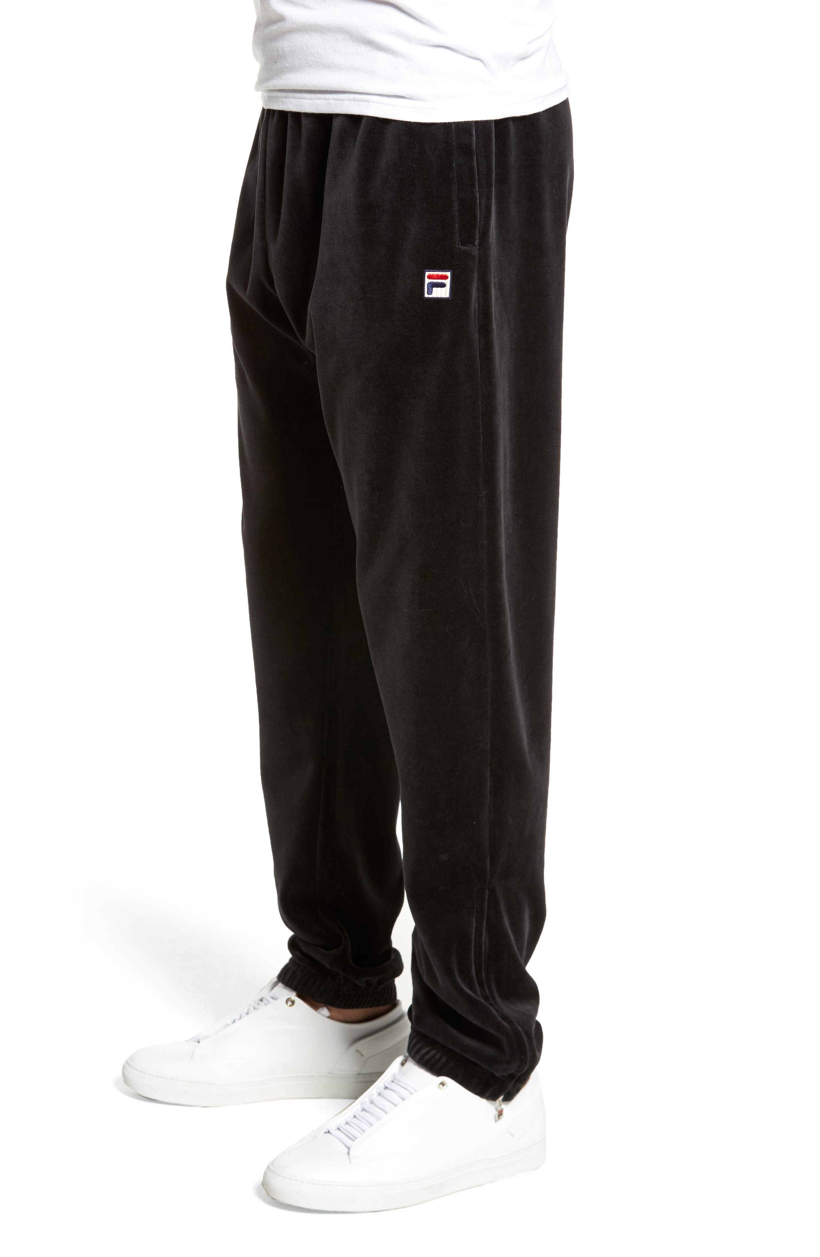 USA Slim Fit Velour Track Pants,                             Alternate thumbnail 3, color,                             001