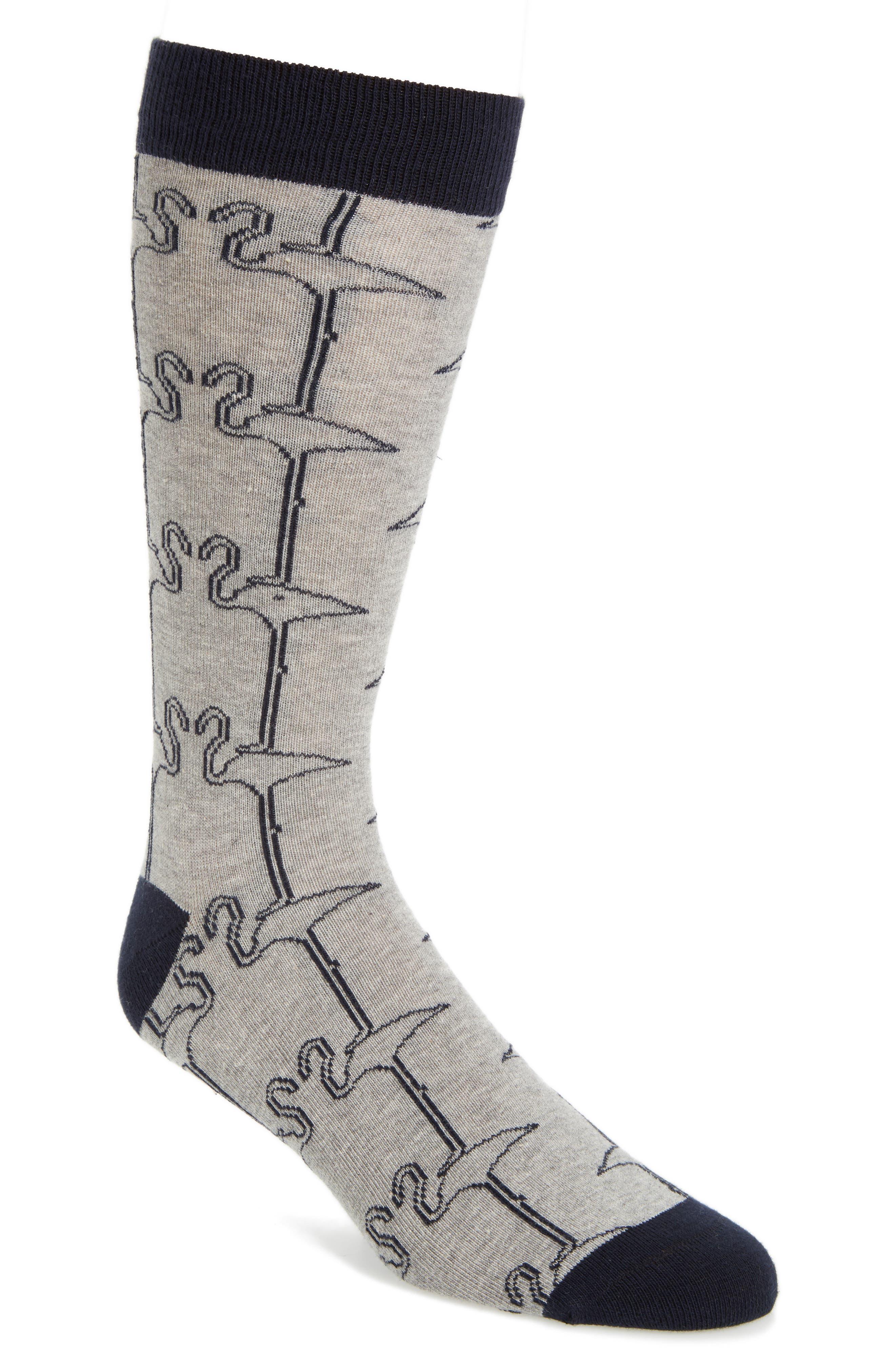 Miami Flamingo Print Crew Socks, Main, color, 030
