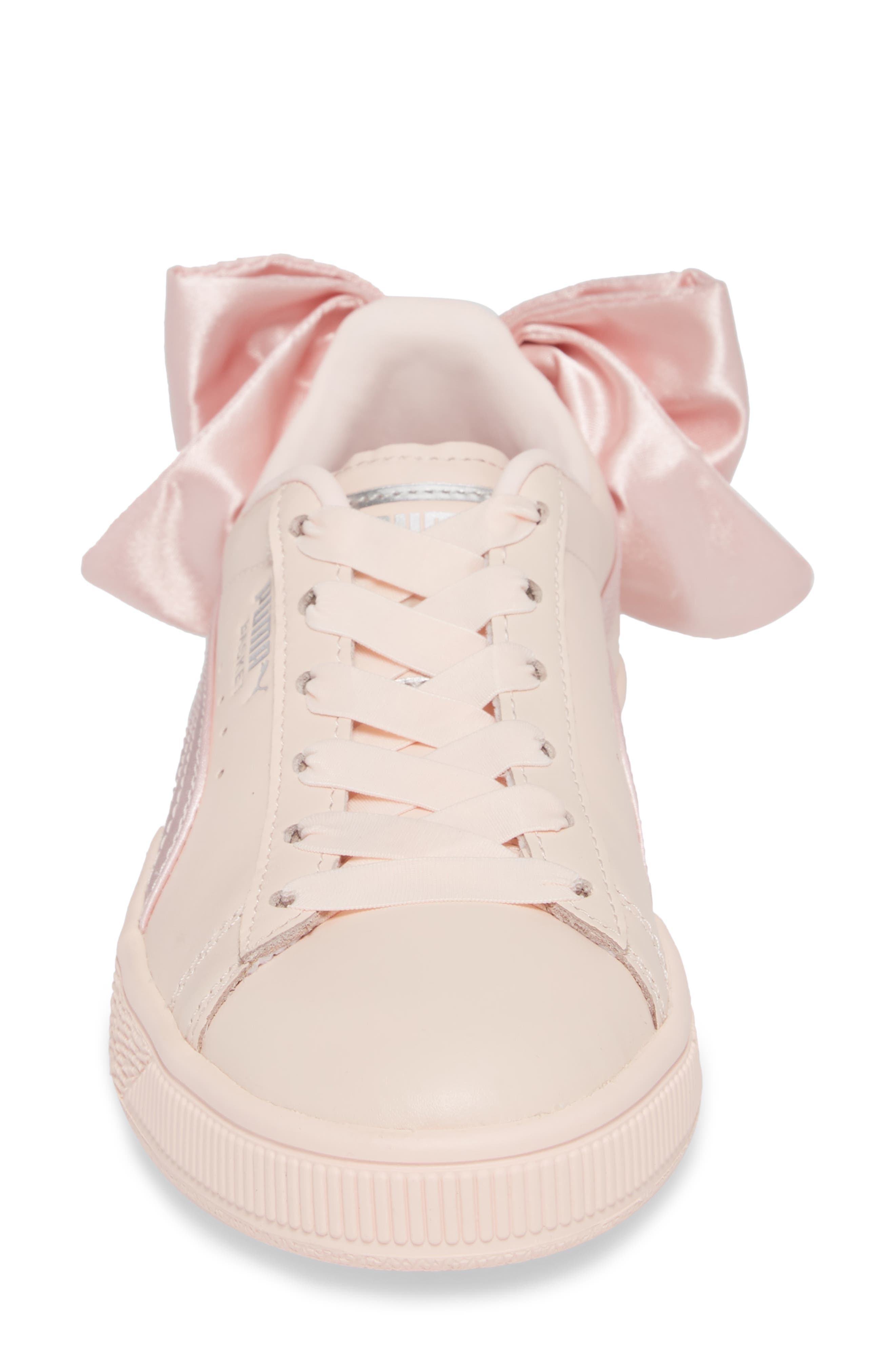 Basket Bow Sneaker,                             Alternate thumbnail 4, color,                             PEARL/ PEARL