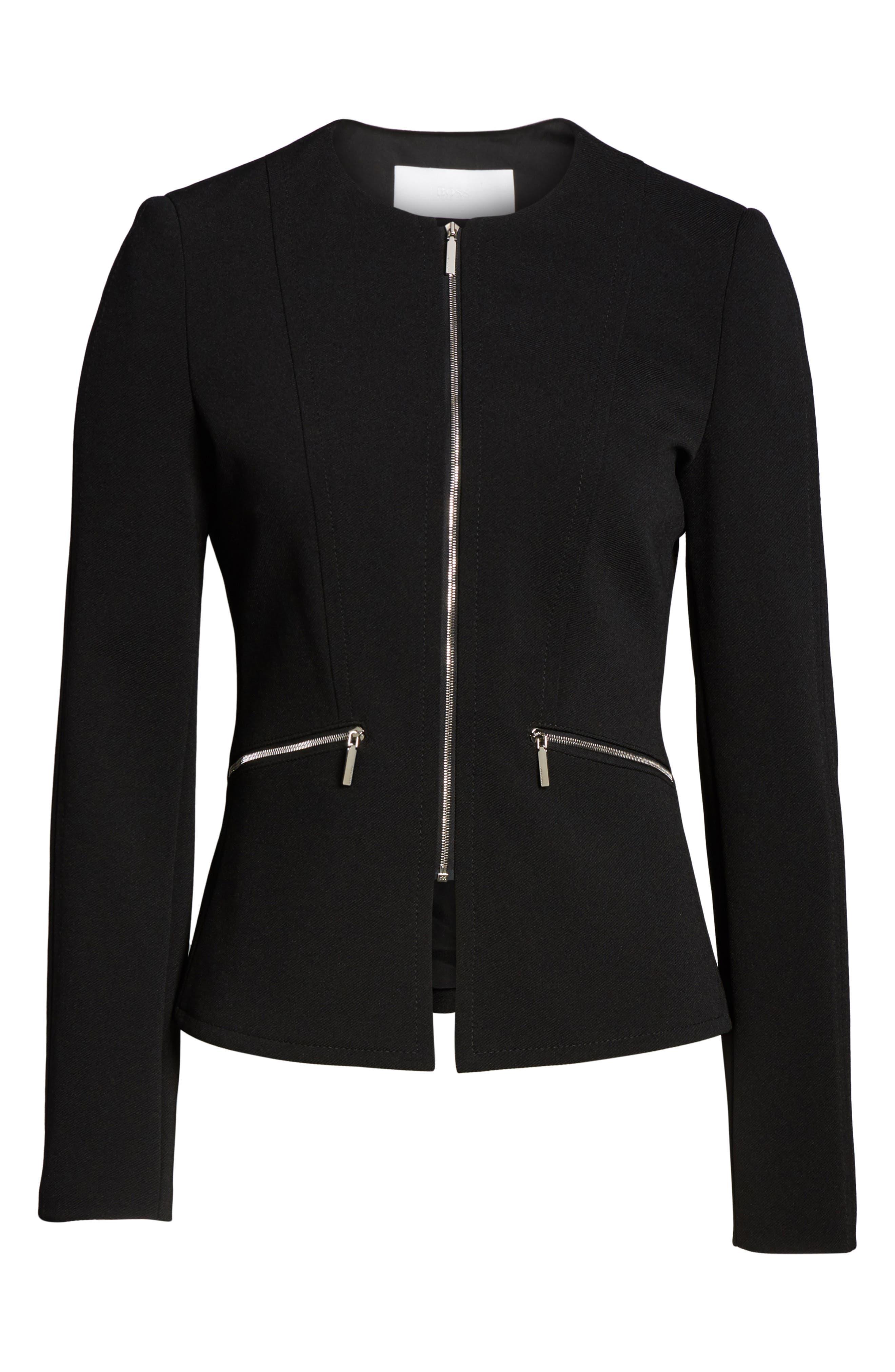 Jazulara Twill Jersey Suit Jacket,                             Alternate thumbnail 5, color,                             001