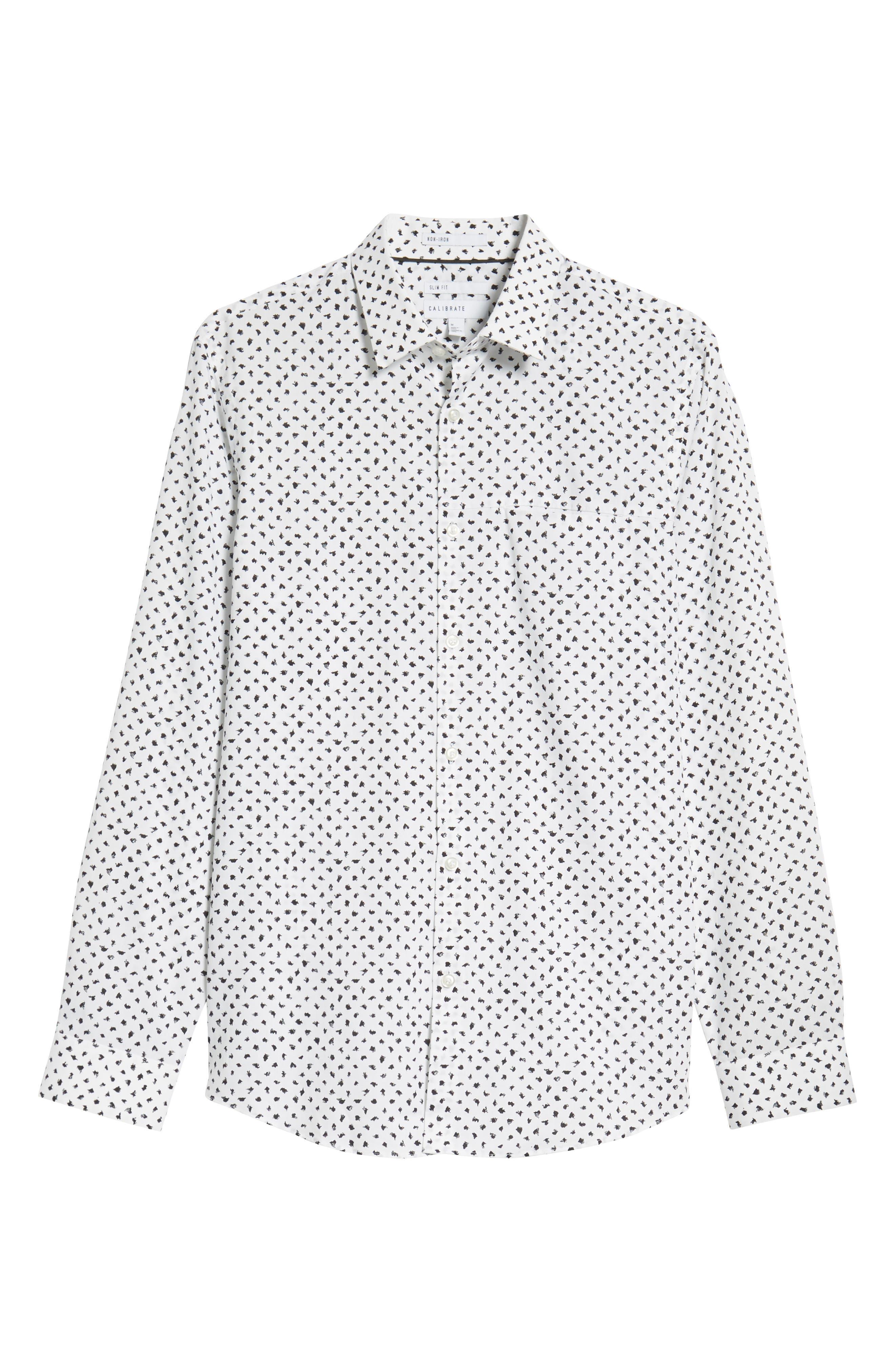 Non-Iron Print Sport Shirt,                             Alternate thumbnail 5, color,                             050