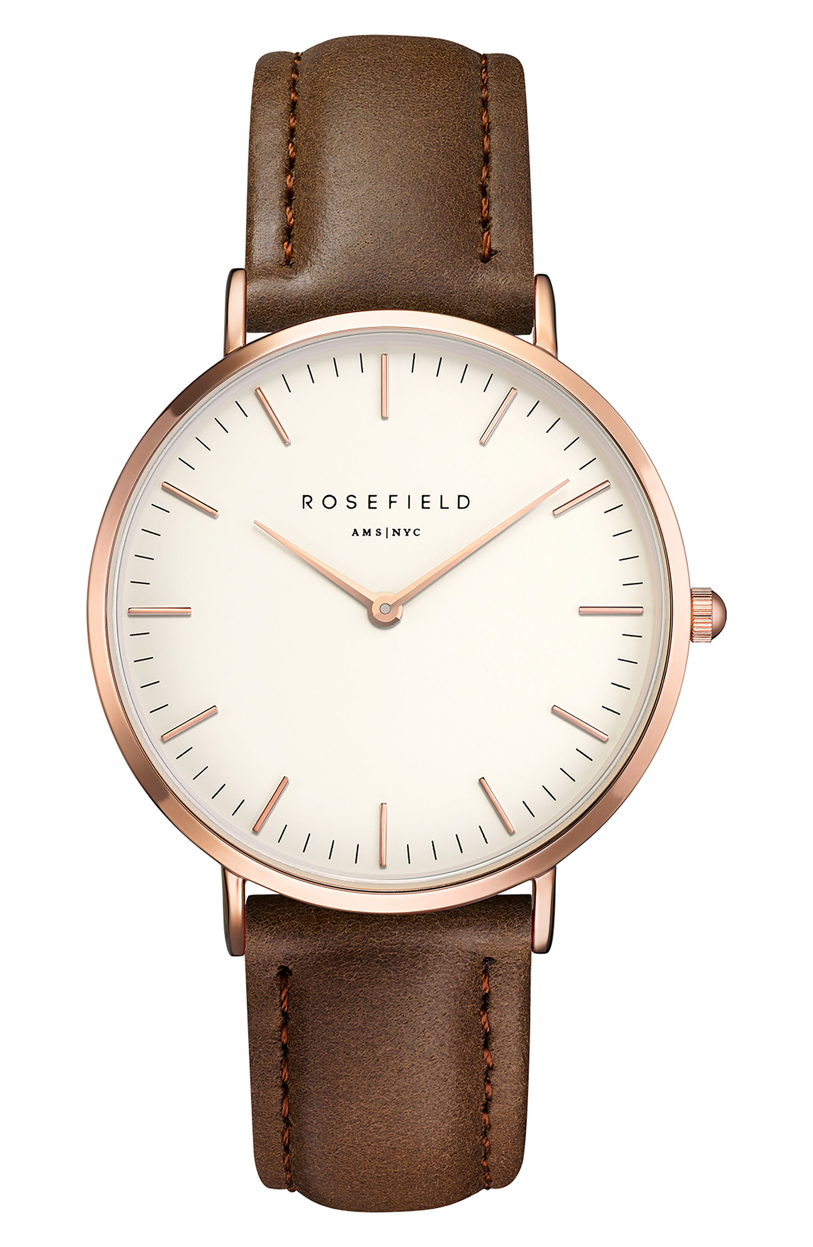 ROSEFIELD Bowery Leather Strap Watch, 38mm, Main, color, BROWN/ WHITE/ ROSE GOLD