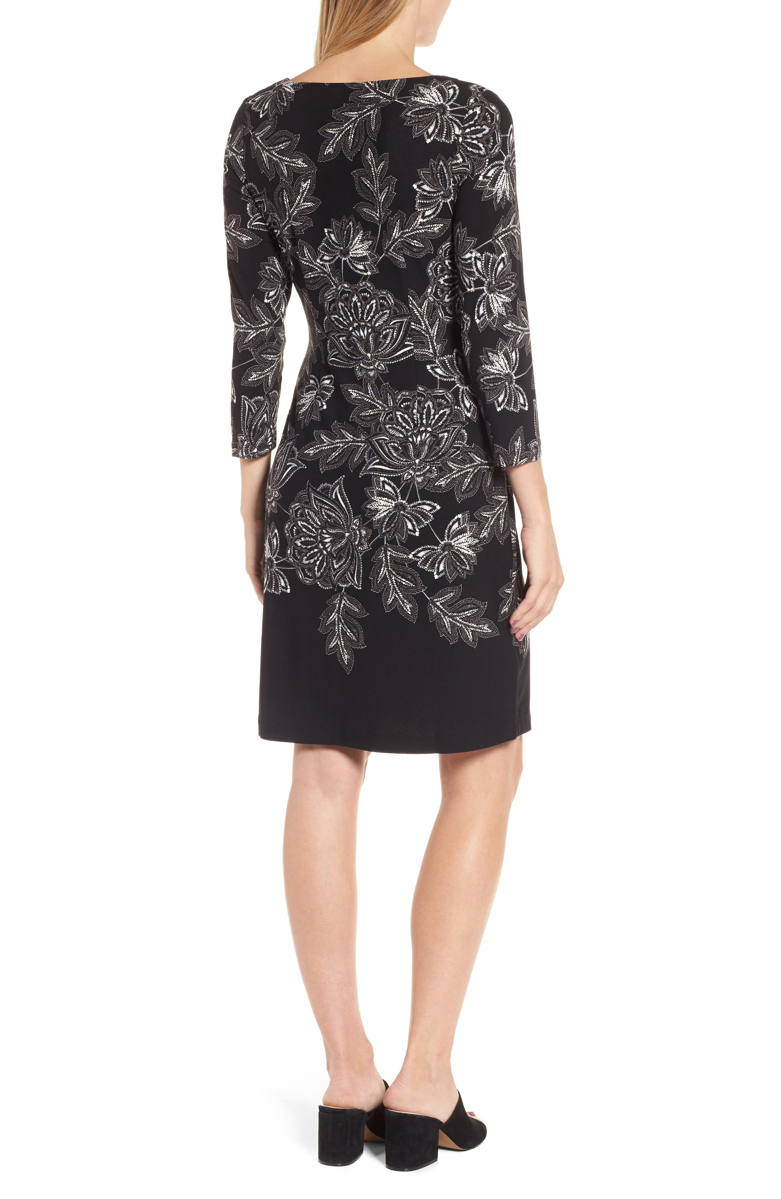 Filigree Floral Print Dress,                             Alternate thumbnail 2, color,                             001