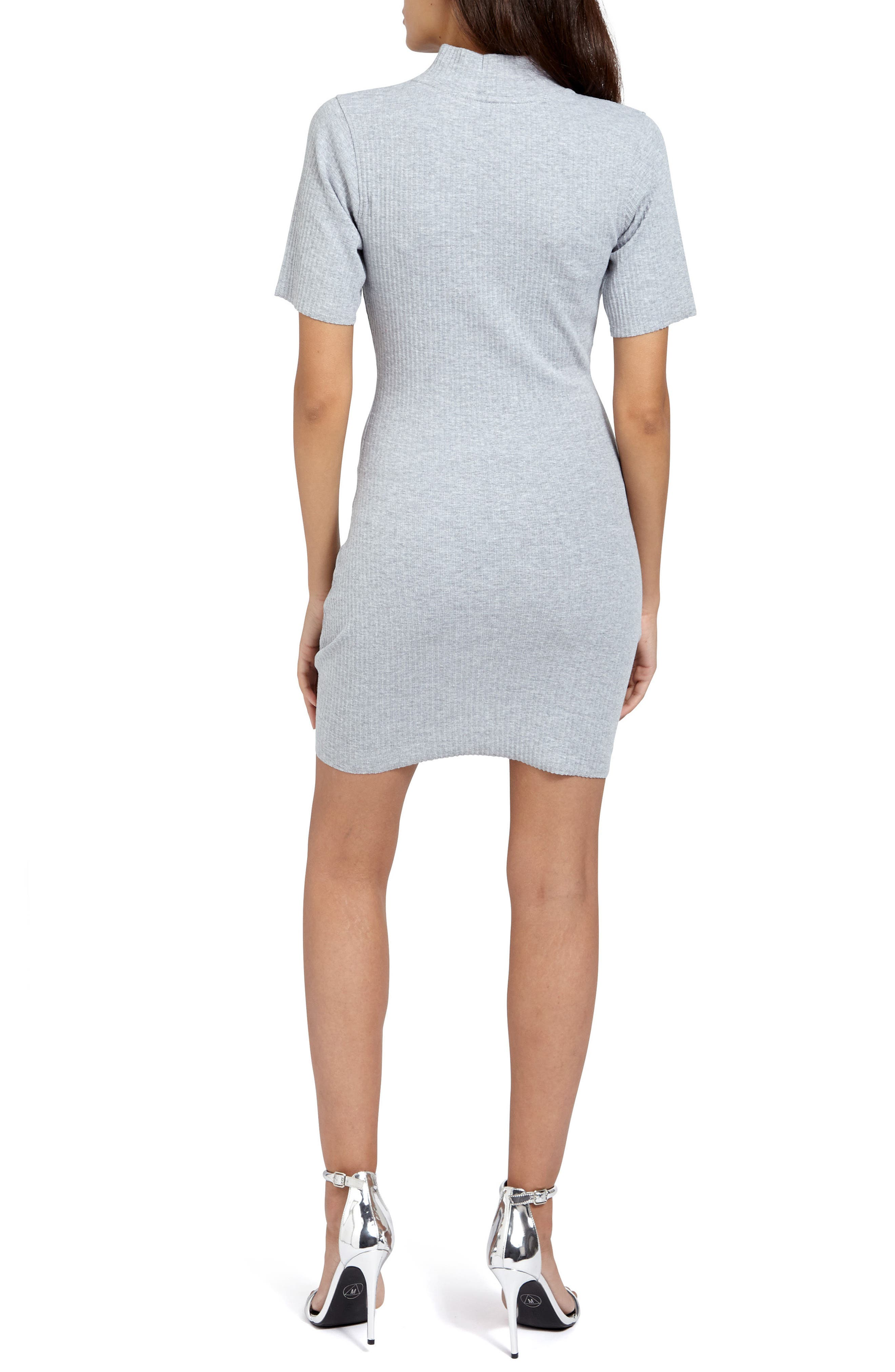 Choker Zip Body-Con Dress,                             Alternate thumbnail 2, color,                             060