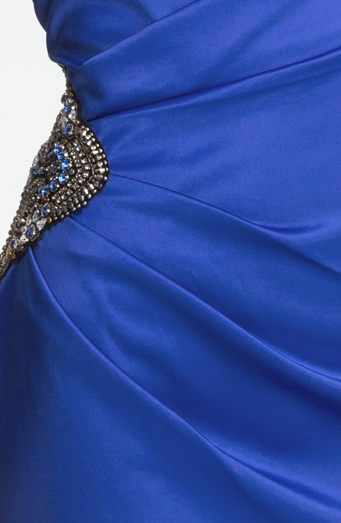 Beaded One-Shoulder Satin Dress,                             Alternate thumbnail 20, color,