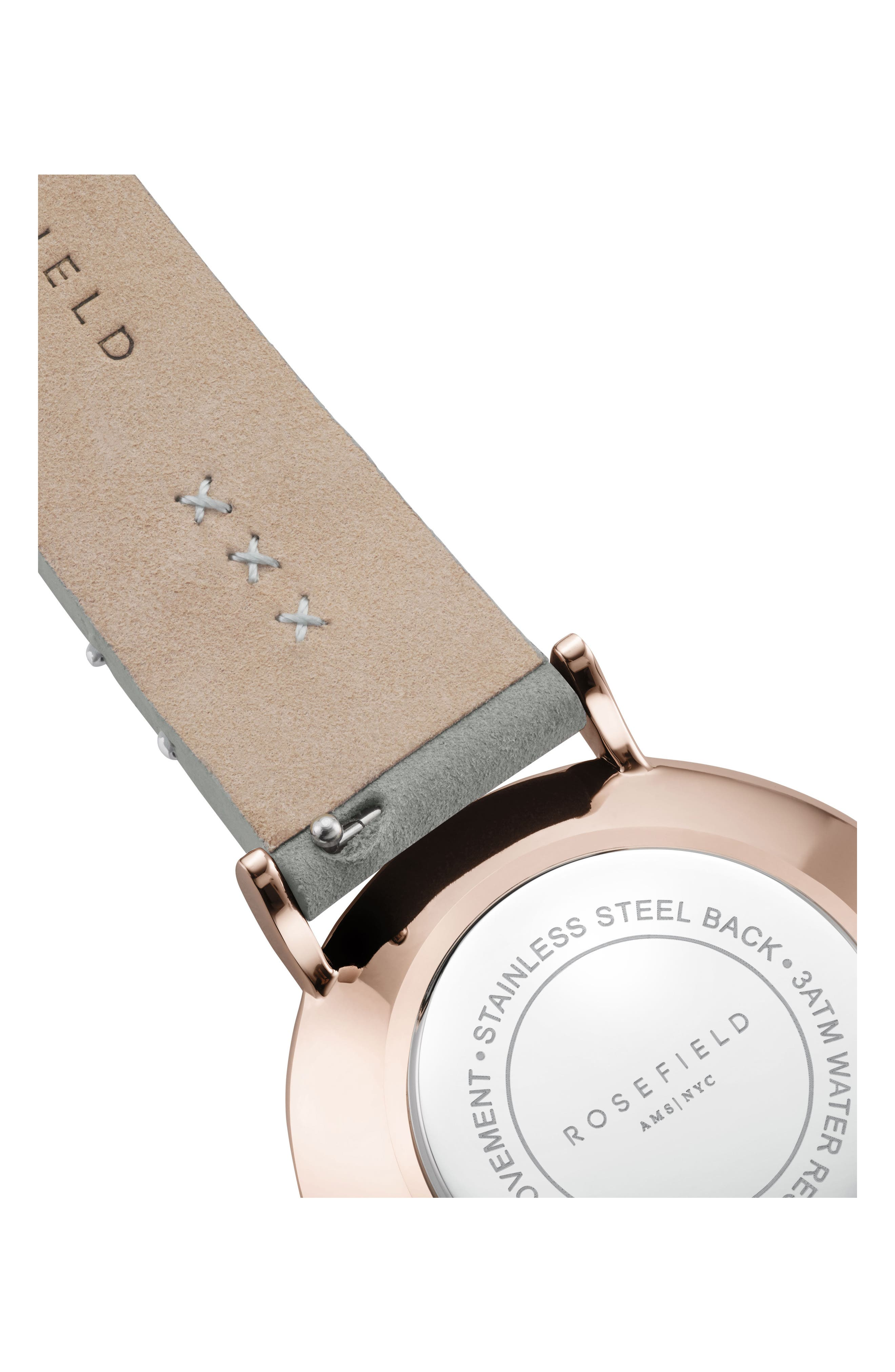 West Village Leather Strap Watch, 33mm,                             Alternate thumbnail 2, color,                             MINT GREY/ WHITE/ ROSE GOLD