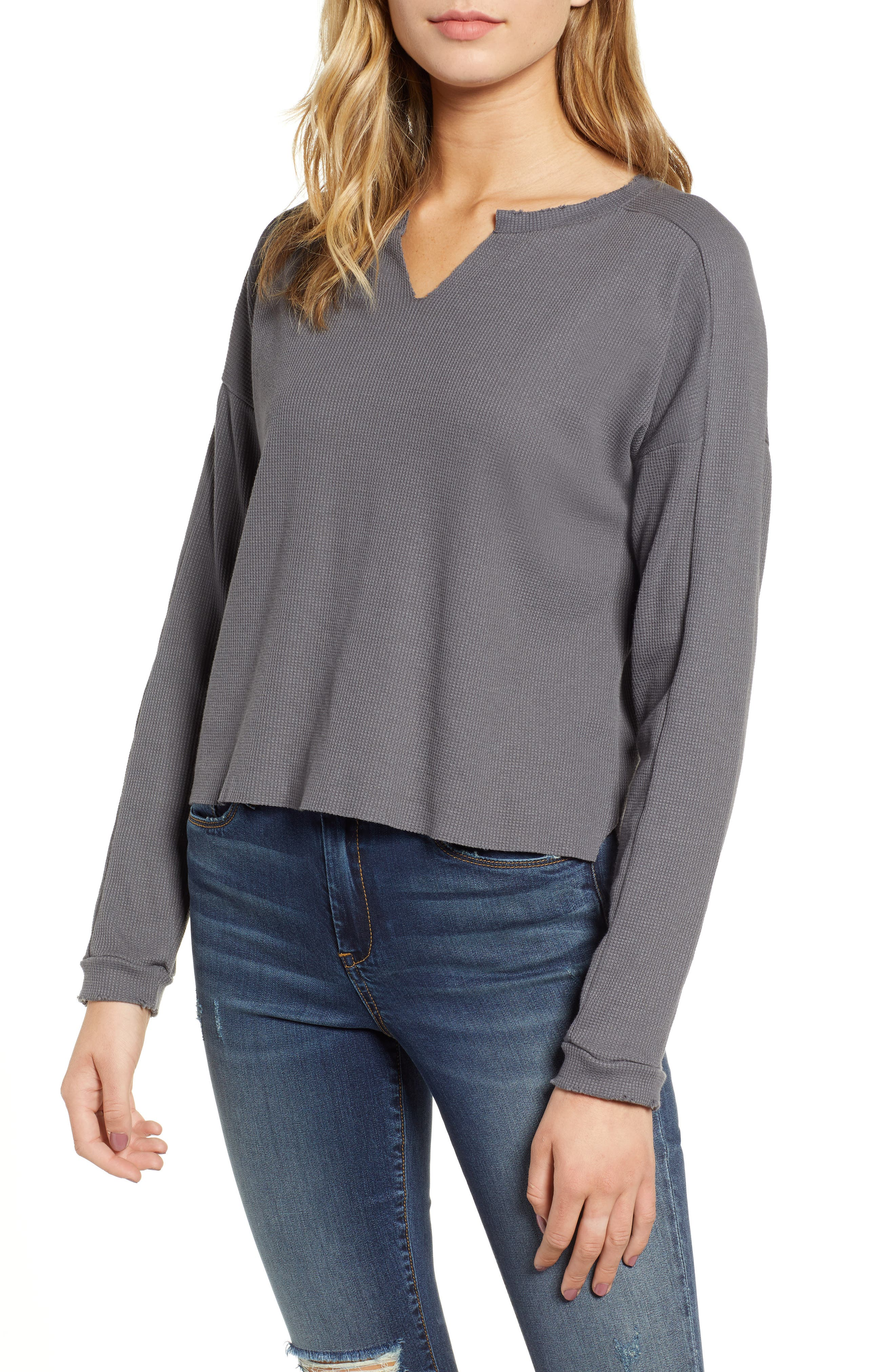 Notch Neck Waffle Tee,                         Main,                         color, CHARCOAL