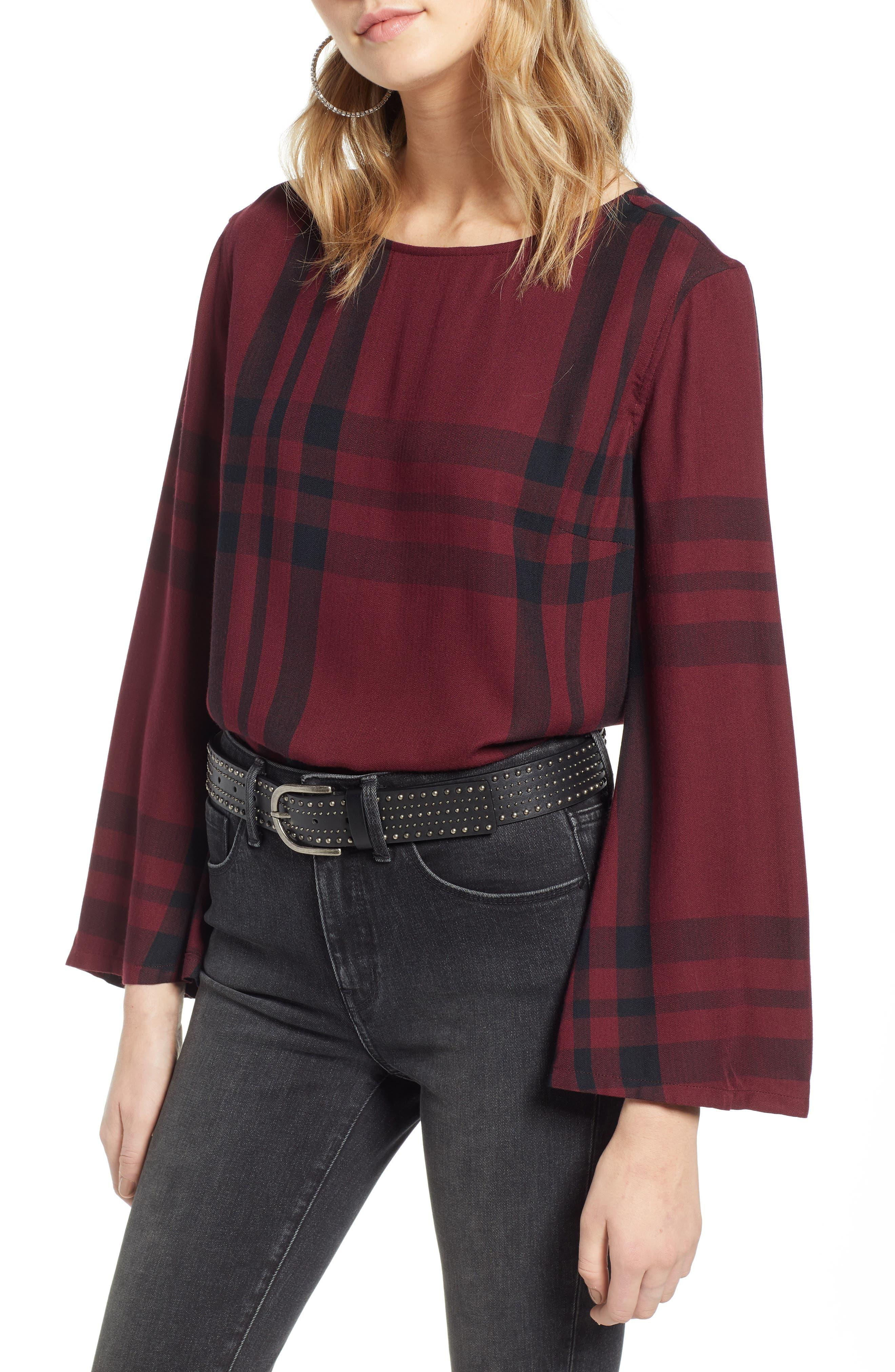 Bell Sleeve Shirt,                             Main thumbnail 1, color,                             RED TANNIN BULLSEYE PLAID