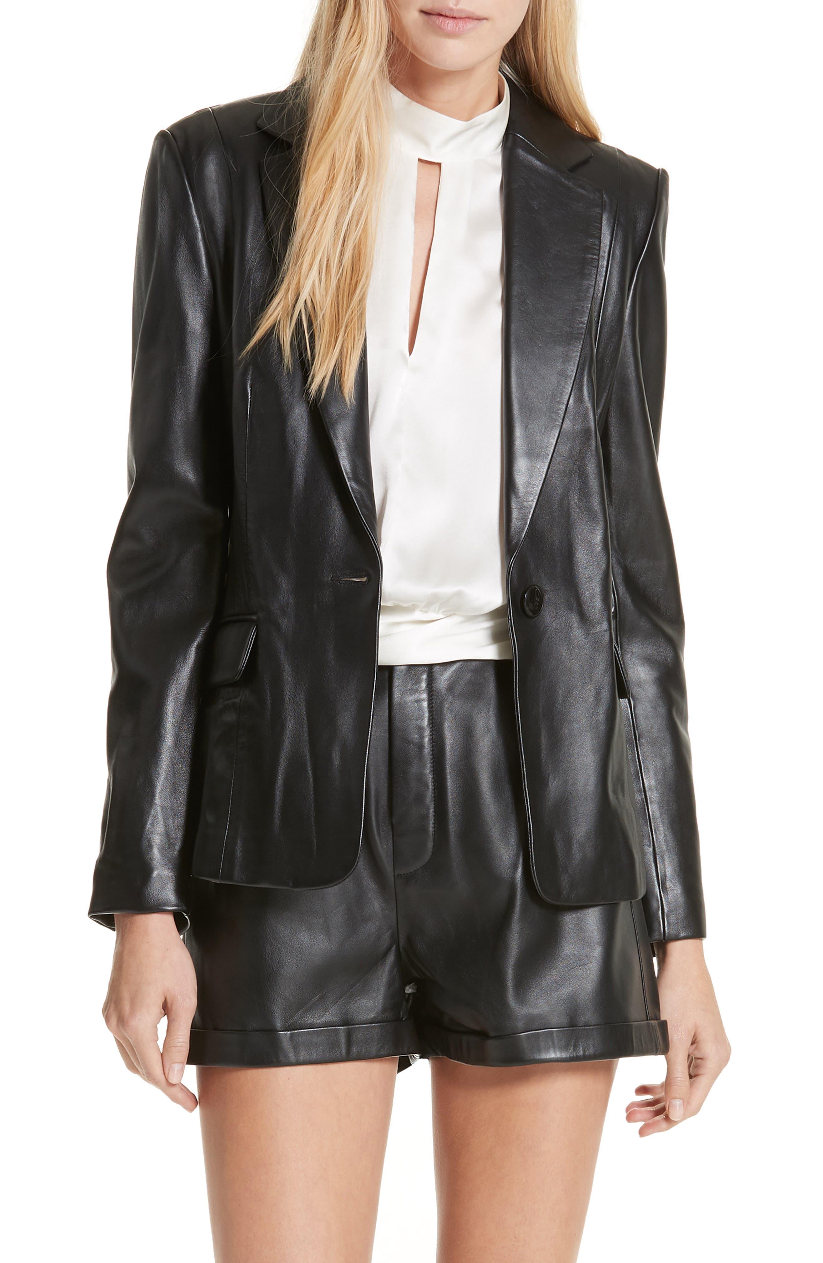 Schoolboy Leather Blazer,                         Main,                         color, NOIR