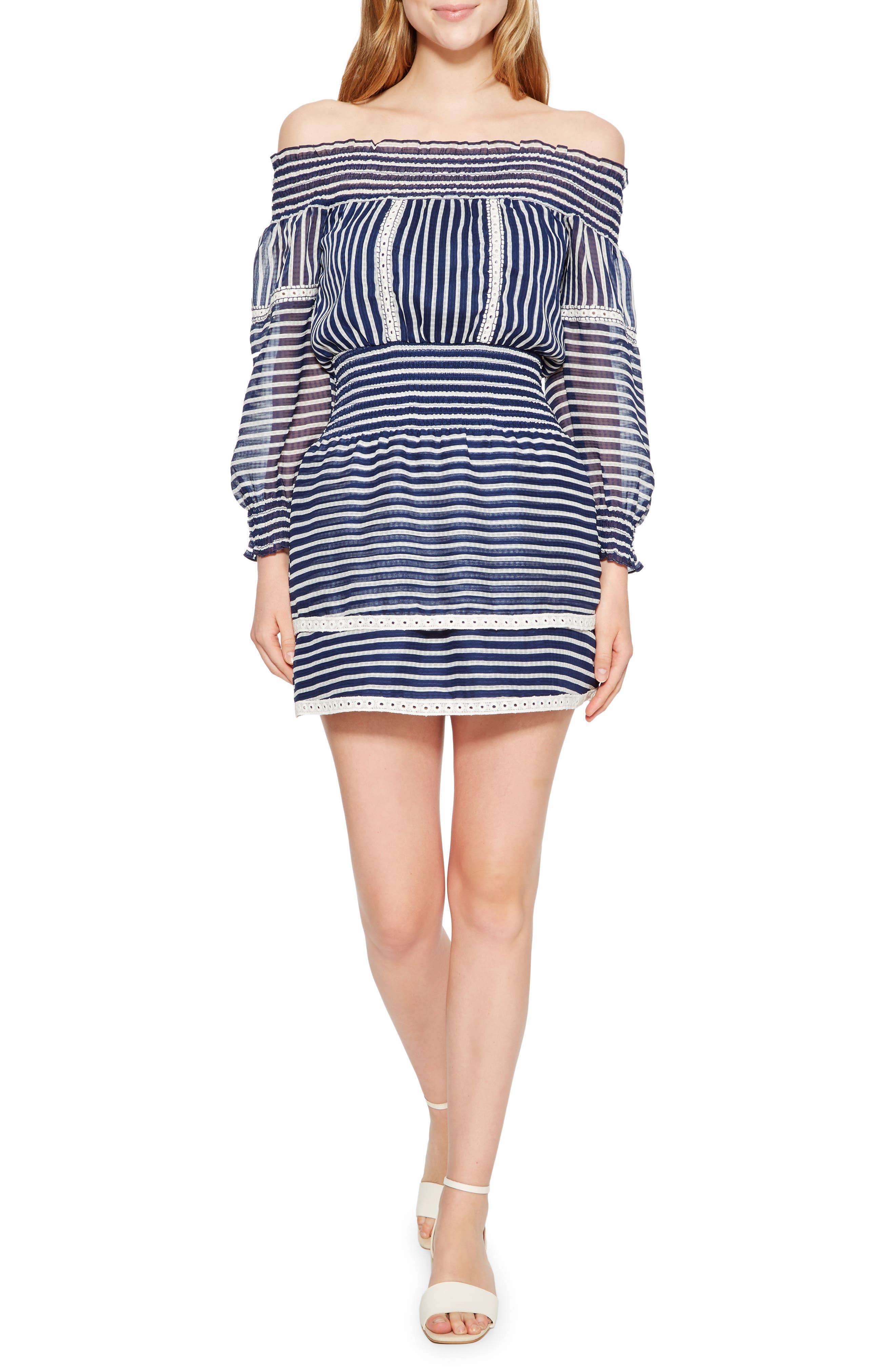 Carah Stripe Off the Shoulder Dress,                         Main,                         color, 496