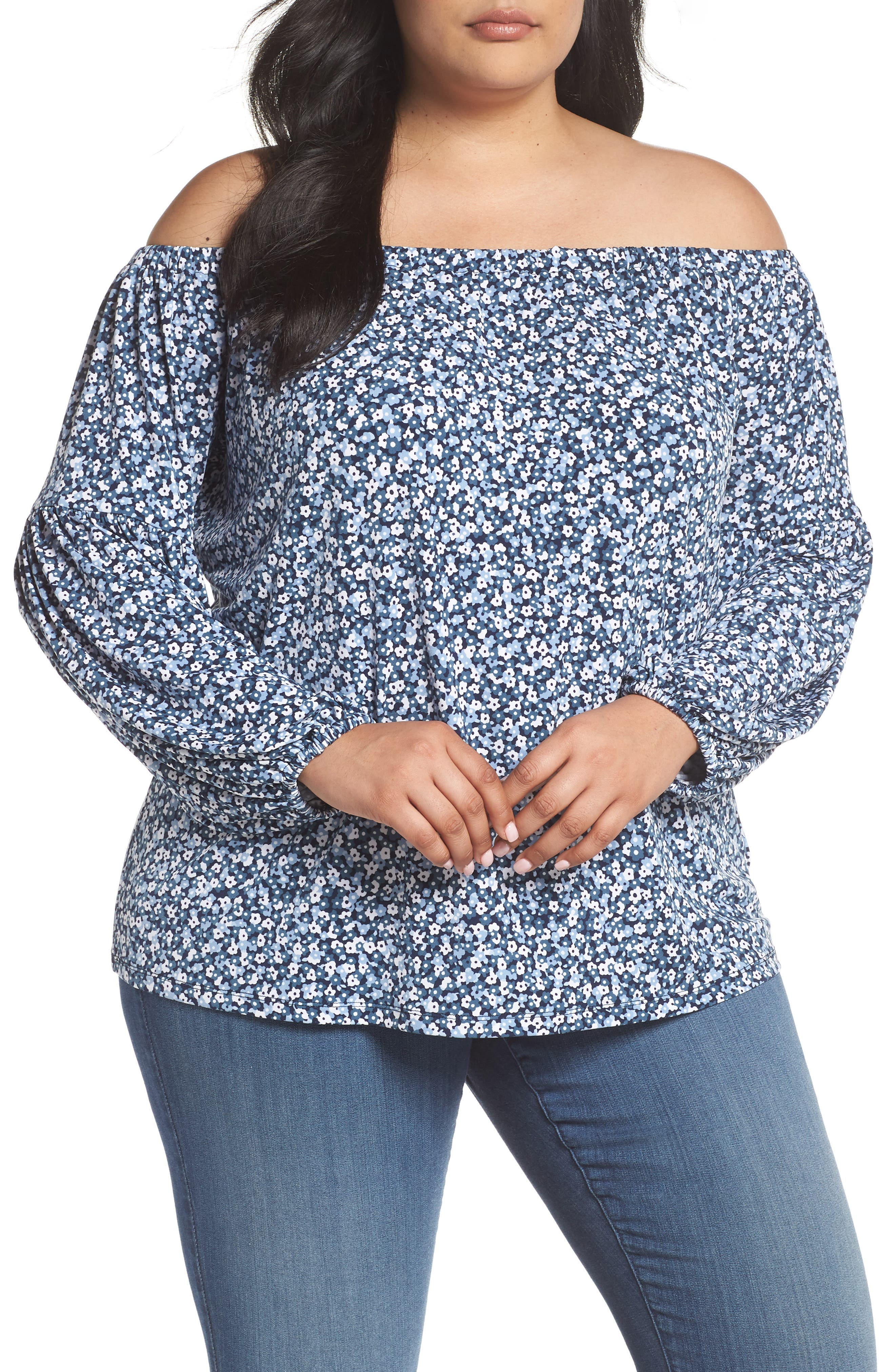 Collage Floral Off the Shoulder Top,                             Main thumbnail 1, color,                             451