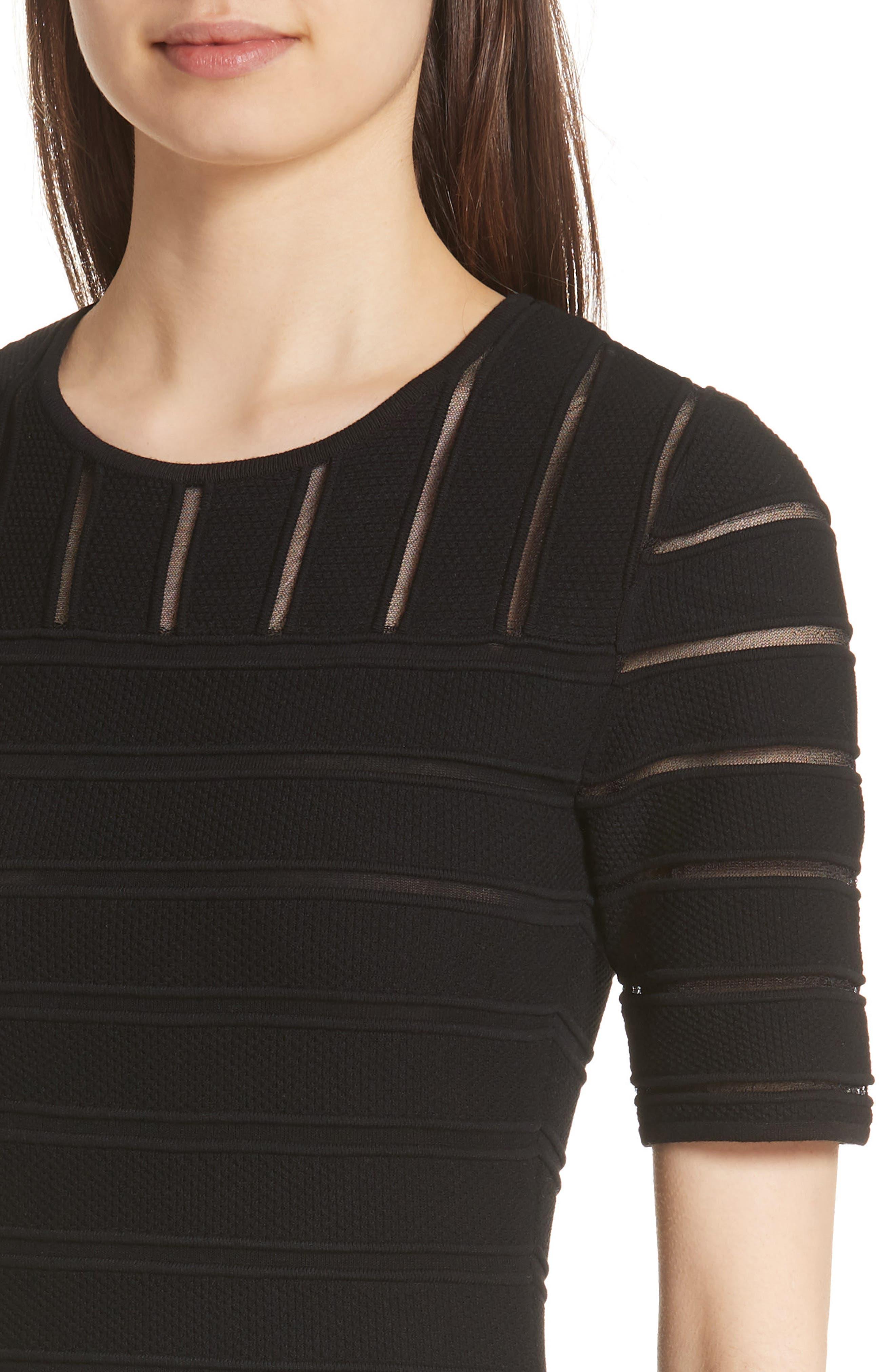 Ottoman Illusion Sweater Dress,                             Alternate thumbnail 4, color,                             CAVIAR