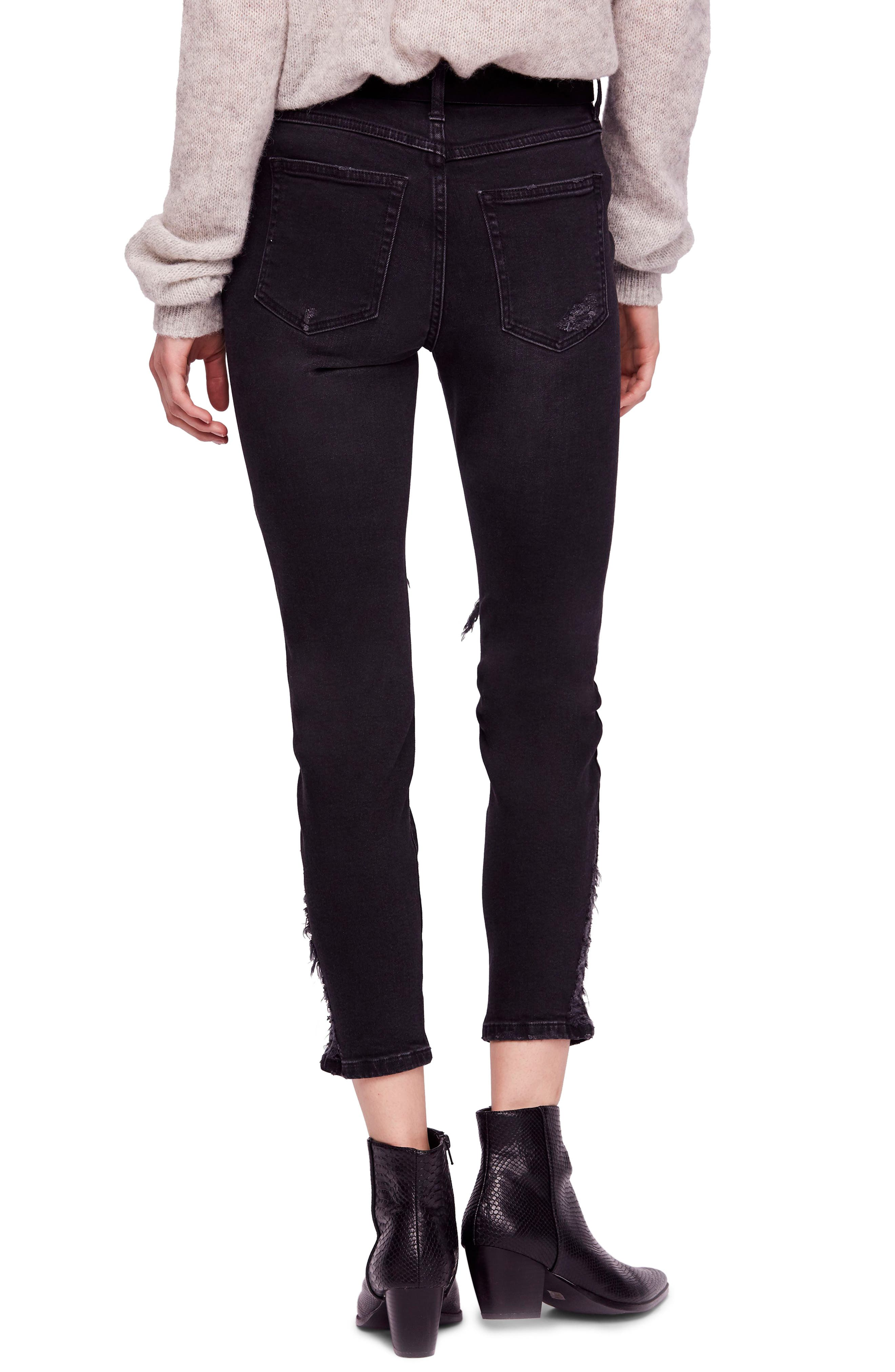 About a Girl Ripped High Waist Crop Skinny Jeans,                             Alternate thumbnail 2, color,                             BLACK