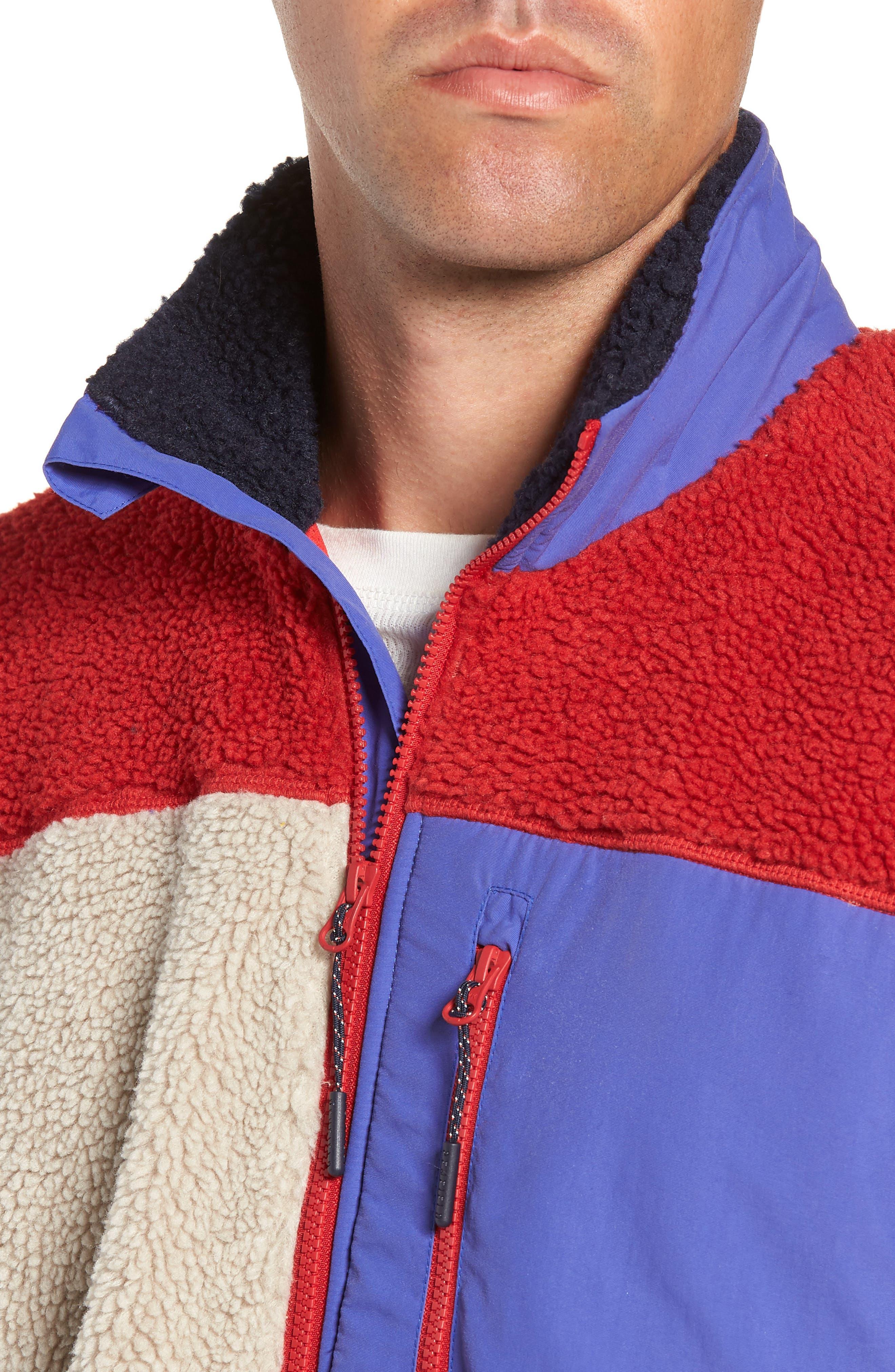 Mattawa Colorblock Fleece Zip Jacket,                             Alternate thumbnail 4, color,                             TAN