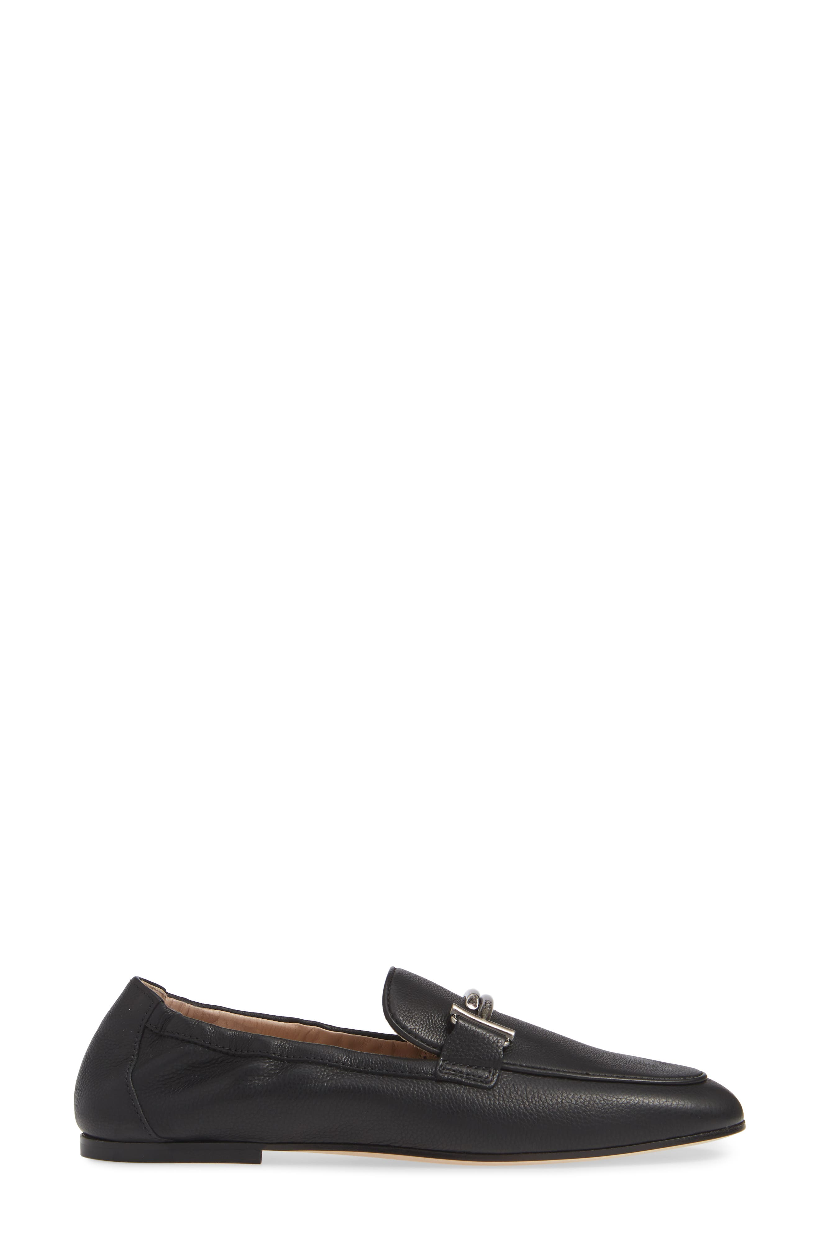Double T Loafer,                             Alternate thumbnail 3, color,                             BLACK LEATHER