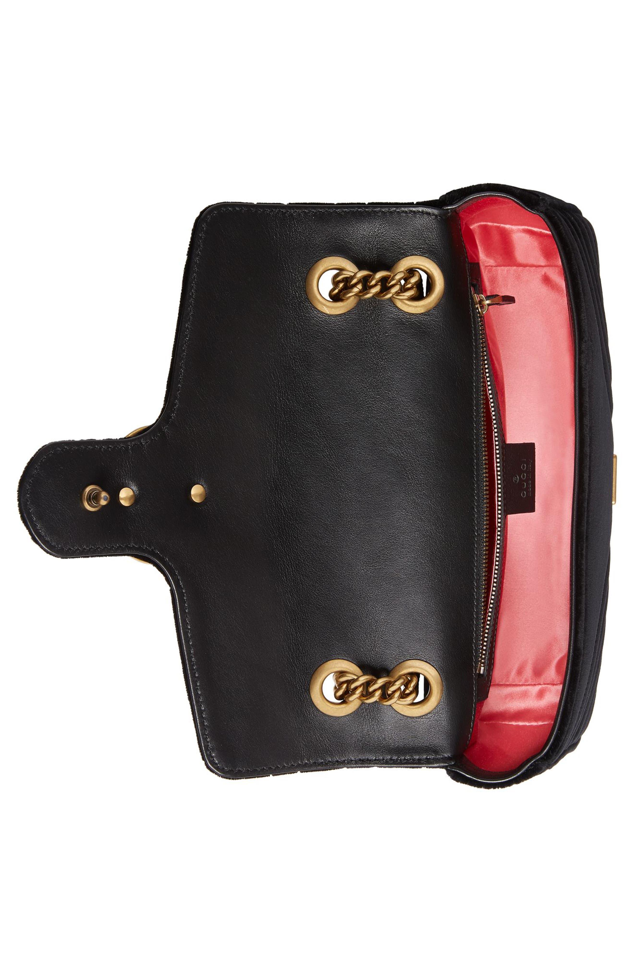 Medium GG Marmont 2.0 Matelassé Velvet Shoulder Bag,                             Alternate thumbnail 3, color,                             NERO
